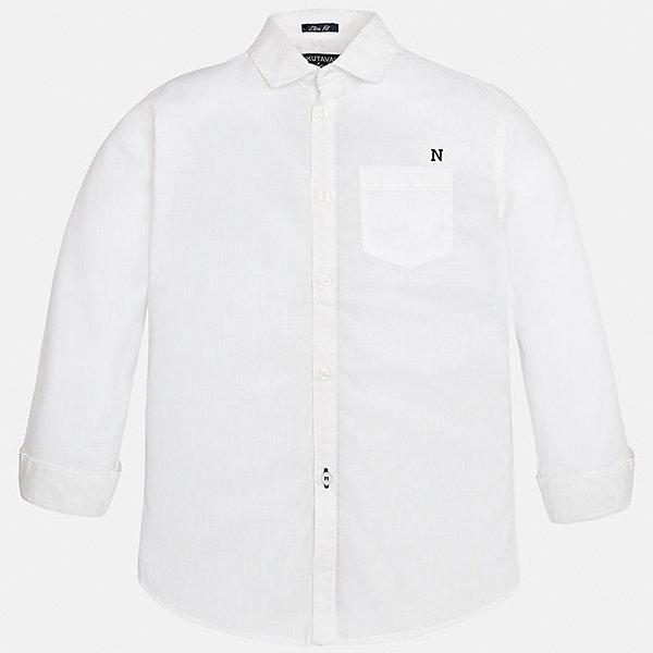 Рубашка для мальчика MayoralОдежда<br>Характеристики товара:<br><br>• цвет: белый<br>• состав: 100% хлопок<br>• отложной воротник<br>• декорирована карманом на груди<br>• рукава с отворотами<br>• застежки: пуговицы<br>• страна бренда: Испания<br><br>Модная рубашка поможет разнообразить гардероб мальчика. Она отлично сочетается с брюками, шортами, джинсами. Универсальный крой и цвет позволяет подобрать к вещи низ разных расцветок. Практичное и стильное изделие! Хорошо смотрится и комфортно сидит на детях. В составе материала - только натуральный хлопок, гипоаллергенный, приятный на ощупь, дышащий. <br><br>Одежда, обувь и аксессуары от испанского бренда Mayoral полюбились детям и взрослым по всему миру. Модели этой марки - стильные и удобные. Для их производства используются только безопасные, качественные материалы и фурнитура. Порадуйте ребенка модными и красивыми вещами от Mayoral! <br><br>Рубашку для мальчика от испанского бренда Mayoral (Майорал) можно купить в нашем интернет-магазине.<br><br>Ширина мм: 174<br>Глубина мм: 10<br>Высота мм: 169<br>Вес г: 157<br>Цвет: белый<br>Возраст от месяцев: 156<br>Возраст до месяцев: 168<br>Пол: Мужской<br>Возраст: Детский<br>Размер: 170,128/134,140,152,164,158<br>SKU: 5281652