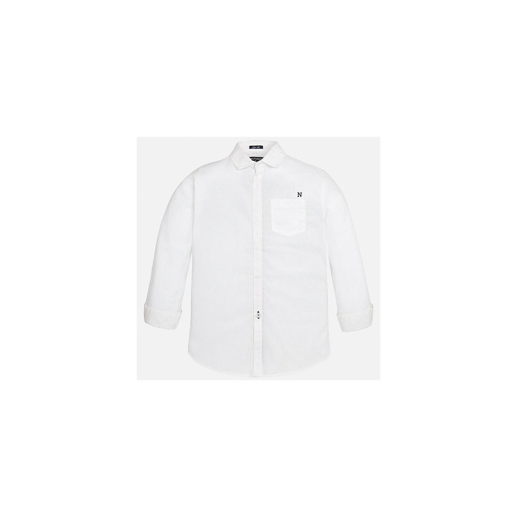 Рубашка для мальчика MayoralБлузки и рубашки<br>Характеристики товара:<br><br>• цвет: белый<br>• состав: 100% хлопок<br>• отложной воротник<br>• декорирована карманом на груди<br>• рукава с отворотами<br>• застежки: пуговицы<br>• страна бренда: Испания<br><br>Модная рубашка поможет разнообразить гардероб мальчика. Она отлично сочетается с брюками, шортами, джинсами. Универсальный крой и цвет позволяет подобрать к вещи низ разных расцветок. Практичное и стильное изделие! Хорошо смотрится и комфортно сидит на детях. В составе материала - только натуральный хлопок, гипоаллергенный, приятный на ощупь, дышащий. <br><br>Одежда, обувь и аксессуары от испанского бренда Mayoral полюбились детям и взрослым по всему миру. Модели этой марки - стильные и удобные. Для их производства используются только безопасные, качественные материалы и фурнитура. Порадуйте ребенка модными и красивыми вещами от Mayoral! <br><br>Рубашку для мальчика от испанского бренда Mayoral (Майорал) можно купить в нашем интернет-магазине.<br><br>Ширина мм: 174<br>Глубина мм: 10<br>Высота мм: 169<br>Вес г: 157<br>Цвет: белый<br>Возраст от месяцев: 156<br>Возраст до месяцев: 168<br>Пол: Мужской<br>Возраст: Детский<br>Размер: 170,128/134,158,164,152,140<br>SKU: 5281652
