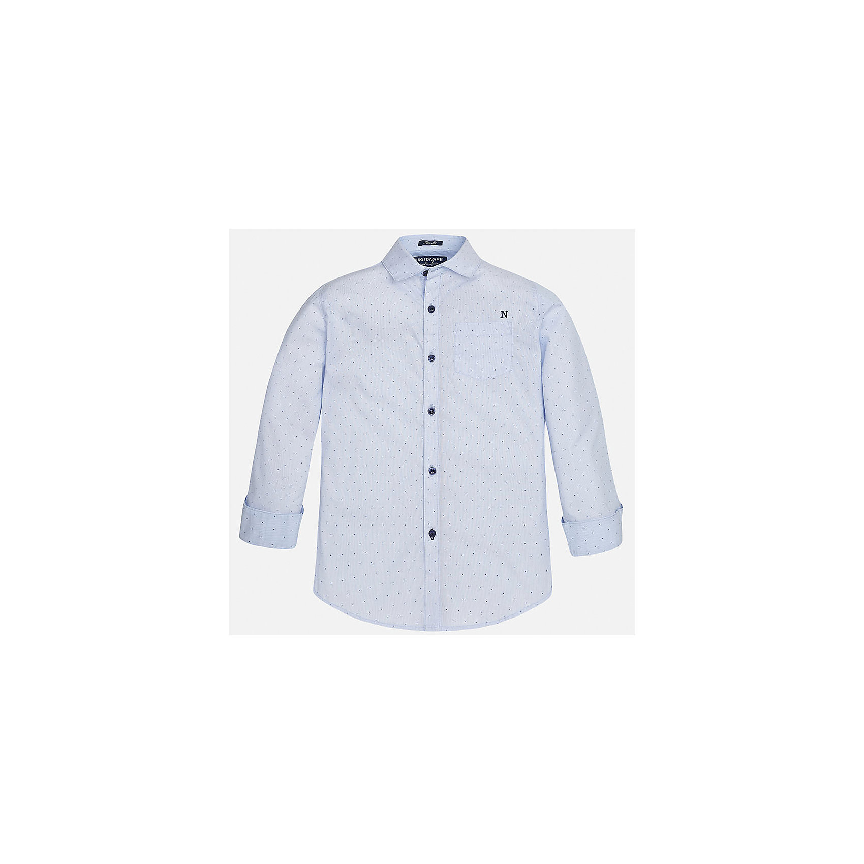 Рубашка для мальчика MayoralБлузки и рубашки<br>Характеристики товара:<br><br>• цвет: голубой<br>• состав: 100% хлопок<br>• отложной воротник<br>• декорирована карманом на груди<br>• рукава с отворотами<br>• застежки: пуговицы<br>• страна бренда: Испания<br><br>Модная рубашка поможет разнообразить гардероб мальчика. Она отлично сочетается с брюками, шортами, джинсами. Универсальный крой и цвет позволяет подобрать к вещи низ разных расцветок. Практичное и стильное изделие! Хорошо смотрится и комфортно сидит на детях. В составе материала - только натуральный хлопок, гипоаллергенный, приятный на ощупь, дышащий. <br><br>Одежда, обувь и аксессуары от испанского бренда Mayoral полюбились детям и взрослым по всему миру. Модели этой марки - стильные и удобные. Для их производства используются только безопасные, качественные материалы и фурнитура. Порадуйте ребенка модными и красивыми вещами от Mayoral! <br><br>Рубашку для мальчика от испанского бренда Mayoral (Майорал) можно купить в нашем интернет-магазине.<br><br>Ширина мм: 174<br>Глубина мм: 10<br>Высота мм: 169<br>Вес г: 157<br>Цвет: голубой<br>Возраст от месяцев: 120<br>Возраст до месяцев: 132<br>Пол: Мужской<br>Возраст: Детский<br>Размер: 152,128/134,158,164,140,170<br>SKU: 5281659