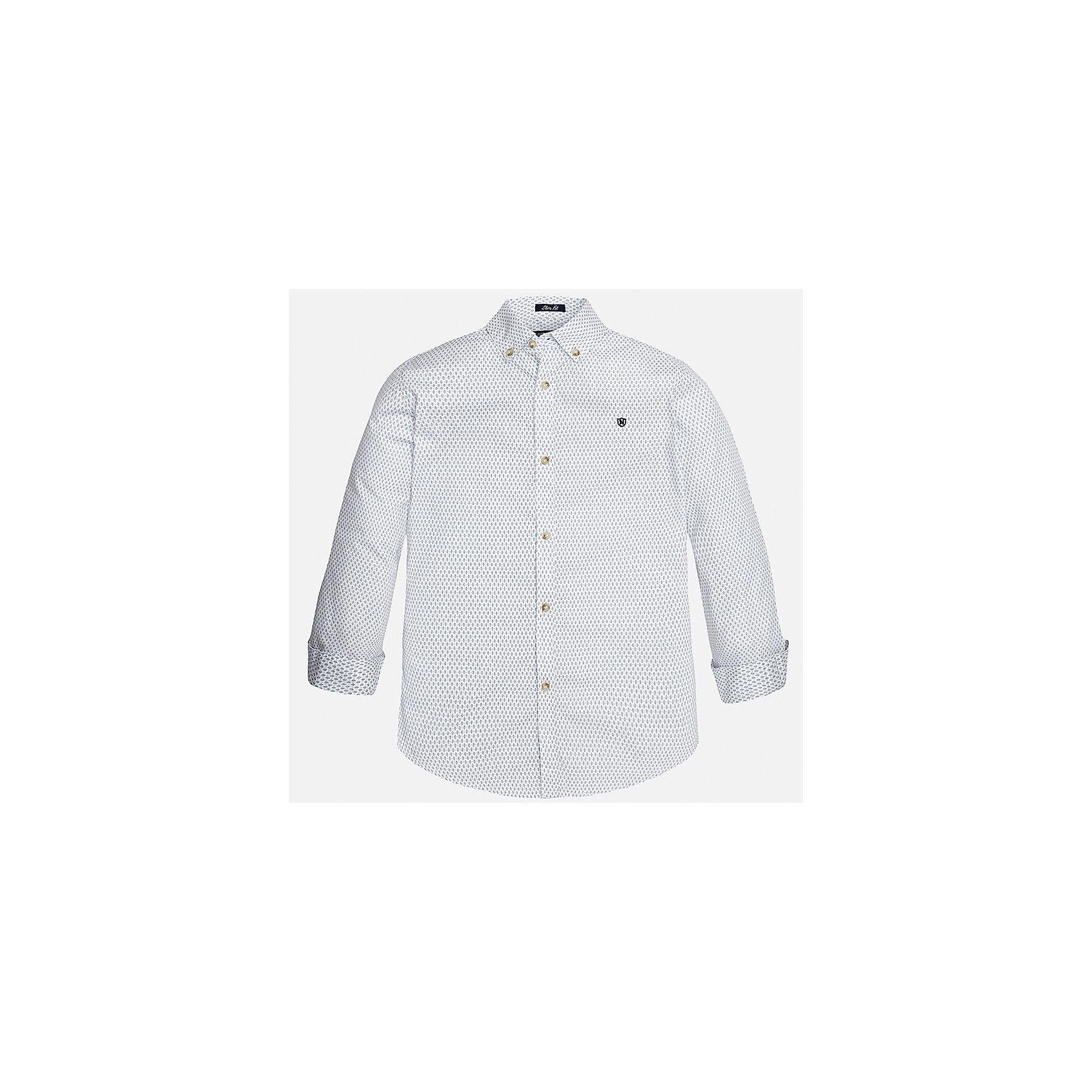 Рубашка для мальчика MayoralБлузки и рубашки<br>Характеристики товара:<br><br>• цвет: белый<br>• состав: 100% хлопок<br>• отложной воротник<br>• декорирована вышивкой на груди<br>• рукава с отворотами<br>• застежки: пуговицы<br>• страна бренда: Испания<br><br>Модная рубашка поможет разнообразить гардероб мальчика. Она отлично сочетается с брюками, шортами, джинсами. Универсальный крой и цвет позволяет подобрать к вещи низ разных расцветок. Практичное и стильное изделие! Хорошо смотрится и комфортно сидит на детях. В составе материала - только натуральный хлопок, гипоаллергенный, приятный на ощупь, дышащий. <br><br>Одежда, обувь и аксессуары от испанского бренда Mayoral полюбились детям и взрослым по всему миру. Модели этой марки - стильные и удобные. Для их производства используются только безопасные, качественные материалы и фурнитура. Порадуйте ребенка модными и красивыми вещами от Mayoral! <br><br>Рубашку для мальчика от испанского бренда Mayoral (Майорал) можно купить в нашем интернет-магазине.<br><br>Ширина мм: 174<br>Глубина мм: 10<br>Высота мм: 169<br>Вес г: 157<br>Цвет: белый<br>Возраст от месяцев: 132<br>Возраст до месяцев: 144<br>Пол: Мужской<br>Возраст: Детский<br>Размер: 158,140,164,128/134,152,170<br>SKU: 5281666