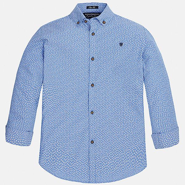 Рубашка для мальчика MayoralБлузки и рубашки<br>Характеристики товара:<br><br>• цвет: голубой<br>• состав: 100% хлопок<br>• отложной воротник<br>• декорирована вышивкой на груди<br>• рукава с отворотами<br>• застежки: пуговицы<br>• страна бренда: Испания<br><br>Модная рубашка поможет разнообразить гардероб мальчика. Она отлично сочетается с брюками, шортами, джинсами. Универсальный крой и цвет позволяет подобрать к вещи низ разных расцветок. Практичное и стильное изделие! Хорошо смотрится и комфортно сидит на детях. В составе материала - только натуральный хлопок, гипоаллергенный, приятный на ощупь, дышащий. <br><br>Одежда, обувь и аксессуары от испанского бренда Mayoral полюбились детям и взрослым по всему миру. Модели этой марки - стильные и удобные. Для их производства используются только безопасные, качественные материалы и фурнитура. Порадуйте ребенка модными и красивыми вещами от Mayoral! <br><br>Рубашку для мальчика от испанского бренда Mayoral (Майорал) можно купить в нашем интернет-магазине.<br>Ширина мм: 174; Глубина мм: 10; Высота мм: 169; Вес г: 157; Цвет: голубой; Возраст от месяцев: 144; Возраст до месяцев: 156; Пол: Мужской; Возраст: Детский; Размер: 164,152,158,170,128/134,140; SKU: 5281673;