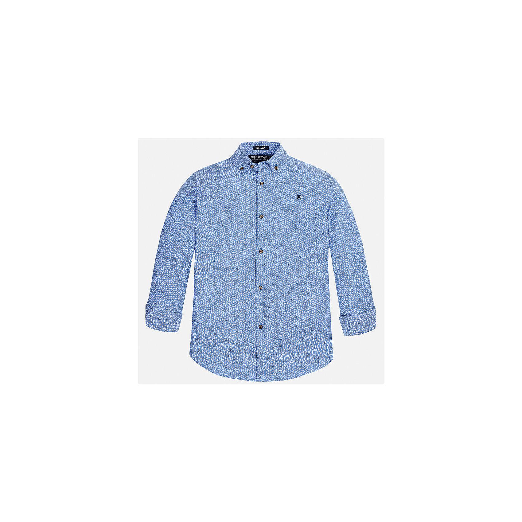 Рубашка для мальчика MayoralБлузки и рубашки<br>Характеристики товара:<br><br>• цвет: голубой<br>• состав: 100% хлопок<br>• отложной воротник<br>• декорирована вышивкой на груди<br>• рукава с отворотами<br>• застежки: пуговицы<br>• страна бренда: Испания<br><br>Модная рубашка поможет разнообразить гардероб мальчика. Она отлично сочетается с брюками, шортами, джинсами. Универсальный крой и цвет позволяет подобрать к вещи низ разных расцветок. Практичное и стильное изделие! Хорошо смотрится и комфортно сидит на детях. В составе материала - только натуральный хлопок, гипоаллергенный, приятный на ощупь, дышащий. <br><br>Одежда, обувь и аксессуары от испанского бренда Mayoral полюбились детям и взрослым по всему миру. Модели этой марки - стильные и удобные. Для их производства используются только безопасные, качественные материалы и фурнитура. Порадуйте ребенка модными и красивыми вещами от Mayoral! <br><br>Рубашку для мальчика от испанского бренда Mayoral (Майорал) можно купить в нашем интернет-магазине.<br><br>Ширина мм: 174<br>Глубина мм: 10<br>Высота мм: 169<br>Вес г: 157<br>Цвет: голубой<br>Возраст от месяцев: 132<br>Возраст до месяцев: 144<br>Пол: Мужской<br>Возраст: Детский<br>Размер: 158,152,140,128/134,170,164<br>SKU: 5281673