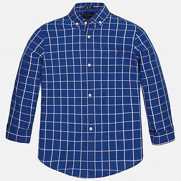 Рубашка для мальчика MayoralБлузки и рубашки<br>Характеристики товара:<br><br>• цвет: синий<br>• состав: 100% хлопок<br>• отложной воротник<br>• в клетку<br>• застежка: пуговицы<br>• рукава с отворотами<br>• вышивка и карман на груди<br>• страна бренда: Испания<br><br>Стильная рубашка для мальчика может стать базовой вещью в гардеробе ребенка. Она отлично сочетается с брюками, шортами, джинсами и т.д. Универсальный крой и цвет позволяет подобрать к вещи низ разных расцветок. Практичное и стильное изделие! В составе материала - только натуральный хлопок, гипоаллергенный, приятный на ощупь, дышащий.<br><br>Одежда, обувь и аксессуары от испанского бренда Mayoral полюбились детям и взрослым по всему миру. Модели этой марки - стильные и удобные. Для их производства используются только безопасные, качественные материалы и фурнитура. Порадуйте ребенка модными и красивыми вещами от Mayoral! <br><br>Рубашку для мальчика от испанского бренда Mayoral (Майорал) можно купить в нашем интернет-магазине.<br><br>Ширина мм: 174<br>Глубина мм: 10<br>Высота мм: 169<br>Вес г: 157<br>Цвет: серый<br>Возраст от месяцев: 156<br>Возраст до месяцев: 168<br>Пол: Мужской<br>Возраст: Детский<br>Размер: 170,140,128/134,152,158,164<br>SKU: 5281680