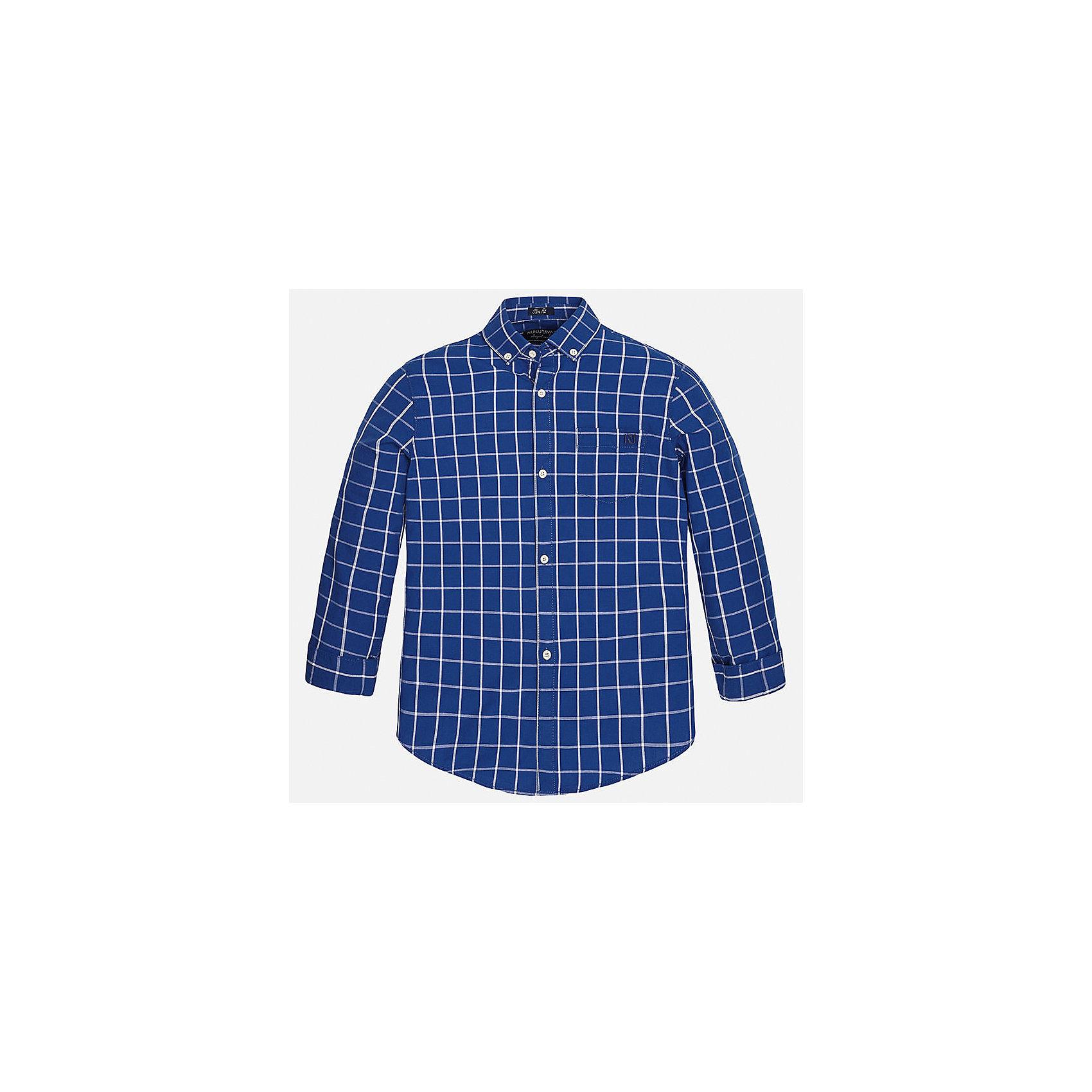 Рубашка для мальчика MayoralБлузки и рубашки<br>Характеристики товара:<br><br>• цвет: синий<br>• состав: 100% хлопок<br>• отложной воротник<br>• в клетку<br>• застежка: пуговицы<br>• рукава с отворотами<br>• вышивка и карман на груди<br>• страна бренда: Испания<br><br>Стильная рубашка для мальчика может стать базовой вещью в гардеробе ребенка. Она отлично сочетается с брюками, шортами, джинсами и т.д. Универсальный крой и цвет позволяет подобрать к вещи низ разных расцветок. Практичное и стильное изделие! В составе материала - только натуральный хлопок, гипоаллергенный, приятный на ощупь, дышащий.<br><br>Одежда, обувь и аксессуары от испанского бренда Mayoral полюбились детям и взрослым по всему миру. Модели этой марки - стильные и удобные. Для их производства используются только безопасные, качественные материалы и фурнитура. Порадуйте ребенка модными и красивыми вещами от Mayoral! <br><br>Рубашку для мальчика от испанского бренда Mayoral (Майорал) можно купить в нашем интернет-магазине.<br><br>Ширина мм: 174<br>Глубина мм: 10<br>Высота мм: 169<br>Вес г: 157<br>Цвет: серый<br>Возраст от месяцев: 96<br>Возраст до месяцев: 108<br>Пол: Мужской<br>Возраст: Детский<br>Размер: 140,170,164,158,152,128/134<br>SKU: 5281680