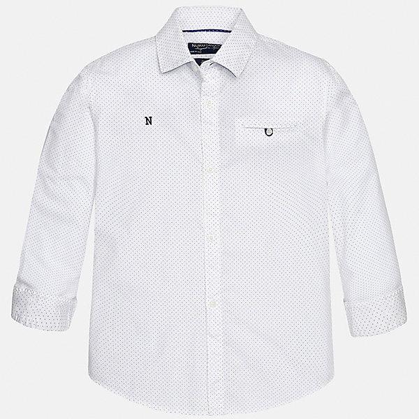 Рубашка для мальчика MayoralБлузки и рубашки<br>Характеристики товара:<br><br>• цвет: белый<br>• состав: 100% хлопок<br>• отложной воротник<br>• декорирована карманом и вышивкой на груди<br>• рукава с отворотами<br>• застежки: пуговицы<br>• страна бренда: Испания<br><br>Модная рубашка поможет разнообразить гардероб мальчика. Она отлично сочетается с брюками, шортами, джинсами. Универсальный крой и цвет позволяет подобрать к вещи низ разных расцветок. Практичное и стильное изделие! Хорошо смотрится и комфортно сидит на детях. В составе материала - только натуральный хлопок, гипоаллергенный, приятный на ощупь, дышащий. <br><br>Одежда, обувь и аксессуары от испанского бренда Mayoral полюбились детям и взрослым по всему миру. Модели этой марки - стильные и удобные. Для их производства используются только безопасные, качественные материалы и фурнитура. Порадуйте ребенка модными и красивыми вещами от Mayoral! <br><br>Рубашку для мальчика от испанского бренда Mayoral (Майорал) можно купить в нашем интернет-магазине.<br>Ширина мм: 174; Глубина мм: 10; Высота мм: 169; Вес г: 157; Цвет: белый; Возраст от месяцев: 120; Возраст до месяцев: 132; Пол: Мужской; Возраст: Детский; Размер: 152,158,128/134,140,164,170; SKU: 5281687;