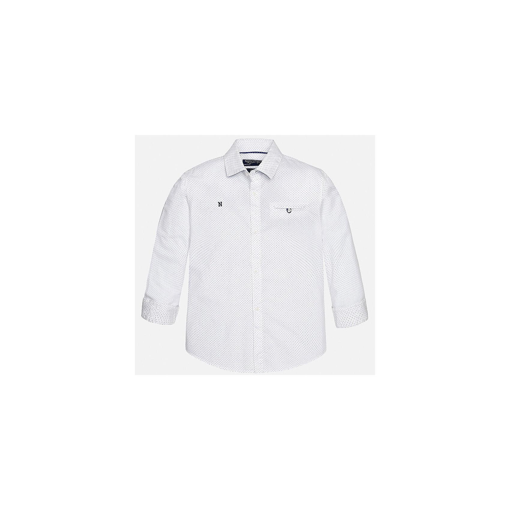 Рубашка для мальчика MayoralХарактеристики товара:<br><br>• цвет: белый<br>• состав: 100% хлопок<br>• отложной воротник<br>• декорирована карманом и вышивкой на груди<br>• рукава с отворотами<br>• застежки: пуговицы<br>• страна бренда: Испания<br><br>Модная рубашка поможет разнообразить гардероб мальчика. Она отлично сочетается с брюками, шортами, джинсами. Универсальный крой и цвет позволяет подобрать к вещи низ разных расцветок. Практичное и стильное изделие! Хорошо смотрится и комфортно сидит на детях. В составе материала - только натуральный хлопок, гипоаллергенный, приятный на ощупь, дышащий. <br><br>Одежда, обувь и аксессуары от испанского бренда Mayoral полюбились детям и взрослым по всему миру. Модели этой марки - стильные и удобные. Для их производства используются только безопасные, качественные материалы и фурнитура. Порадуйте ребенка модными и красивыми вещами от Mayoral! <br><br>Рубашку для мальчика от испанского бренда Mayoral (Майорал) можно купить в нашем интернет-магазине.<br><br>Ширина мм: 174<br>Глубина мм: 10<br>Высота мм: 169<br>Вес г: 157<br>Цвет: белый<br>Возраст от месяцев: 84<br>Возраст до месяцев: 96<br>Пол: Мужской<br>Возраст: Детский<br>Размер: 158,128/134,170,164,152,140<br>SKU: 5281687