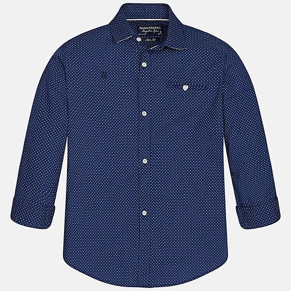 Рубашка для мальчика MayoralОдежда<br>Характеристики товара:<br><br>• цвет: синий<br>• состав: 100% хлопок<br>• отложной воротник<br>• декорирована карманом и вышивкой на груди<br>• рукава с отворотами<br>• застежки: пуговицы<br>• страна бренда: Испания<br><br>Модная рубашка поможет разнообразить гардероб мальчика. Она отлично сочетается с брюками, шортами, джинсами. Универсальный крой и цвет позволяет подобрать к вещи низ разных расцветок. Практичное и стильное изделие! Хорошо смотрится и комфортно сидит на детях. В составе материала - только натуральный хлопок, гипоаллергенный, приятный на ощупь, дышащий. <br><br>Одежда, обувь и аксессуары от испанского бренда Mayoral полюбились детям и взрослым по всему миру. Модели этой марки - стильные и удобные. Для их производства используются только безопасные, качественные материалы и фурнитура. Порадуйте ребенка модными и красивыми вещами от Mayoral! <br><br>Рубашку для мальчика от испанского бренда Mayoral (Майорал) можно купить в нашем интернет-магазине.<br><br>Ширина мм: 174<br>Глубина мм: 10<br>Высота мм: 169<br>Вес г: 157<br>Цвет: синий<br>Возраст от месяцев: 120<br>Возраст до месяцев: 132<br>Пол: Мужской<br>Возраст: Детский<br>Размер: 152,170,128/134,140,158,164<br>SKU: 5281694