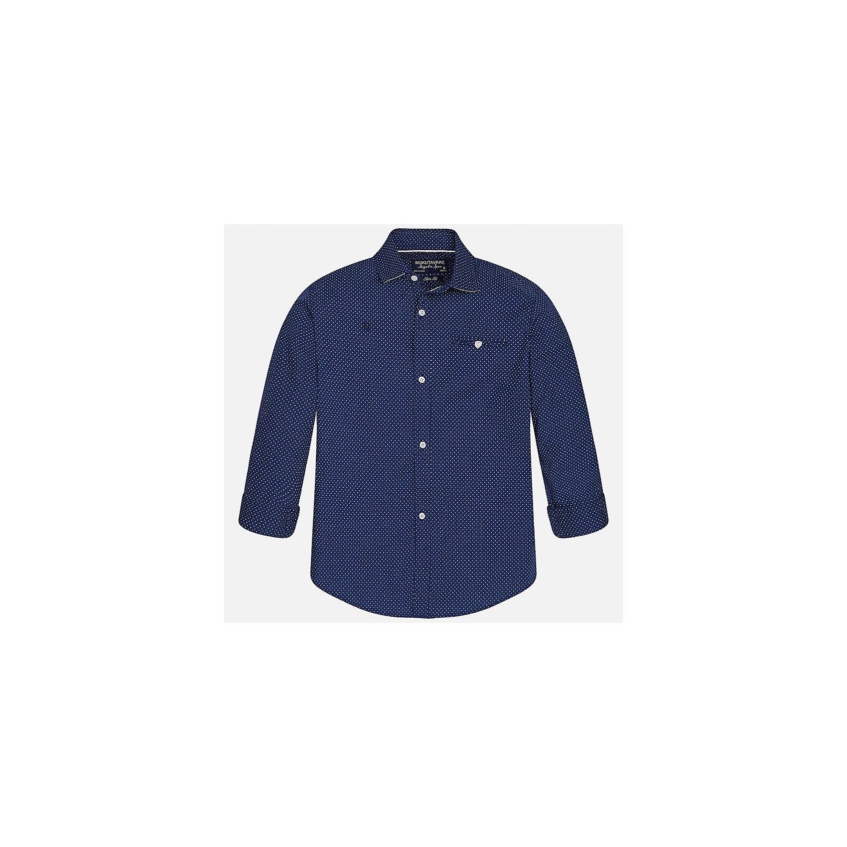 Рубашка для мальчика MayoralБлузки и рубашки<br>Характеристики товара:<br><br>• цвет: синий<br>• состав: 100% хлопок<br>• отложной воротник<br>• декорирована карманом и вышивкой на груди<br>• рукава с отворотами<br>• застежки: пуговицы<br>• страна бренда: Испания<br><br>Модная рубашка поможет разнообразить гардероб мальчика. Она отлично сочетается с брюками, шортами, джинсами. Универсальный крой и цвет позволяет подобрать к вещи низ разных расцветок. Практичное и стильное изделие! Хорошо смотрится и комфортно сидит на детях. В составе материала - только натуральный хлопок, гипоаллергенный, приятный на ощупь, дышащий. <br><br>Одежда, обувь и аксессуары от испанского бренда Mayoral полюбились детям и взрослым по всему миру. Модели этой марки - стильные и удобные. Для их производства используются только безопасные, качественные материалы и фурнитура. Порадуйте ребенка модными и красивыми вещами от Mayoral! <br><br>Рубашку для мальчика от испанского бренда Mayoral (Майорал) можно купить в нашем интернет-магазине.<br><br>Ширина мм: 174<br>Глубина мм: 10<br>Высота мм: 169<br>Вес г: 157<br>Цвет: синий<br>Возраст от месяцев: 144<br>Возраст до месяцев: 156<br>Пол: Мужской<br>Возраст: Детский<br>Размер: 164,152,170,158,140,128/134<br>SKU: 5281694