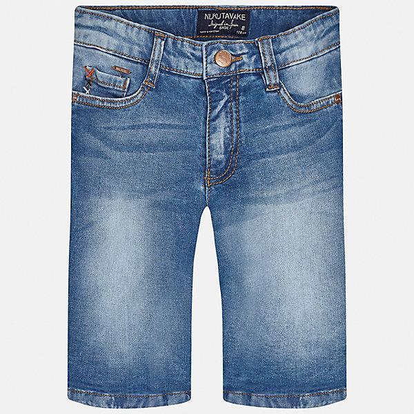 Бриджи джинсовые для мальчика MayoralШорты, бриджи, капри<br>Характеристики товара:<br><br>• цвет: синий<br>• состав: 97% хлопок, 3% эластан<br>• шлевки<br>• карманы<br>• пояс с регулировкой объема<br>• имитация потертостей<br>• страна бренда: Испания<br><br>Стильные шорты для мальчика смогут стать базовой вещью в гардеробе ребенка. Они отлично сочетаются с майками, футболками, рубашками и т.д. Универсальный крой и цвет позволяет подобрать к вещи верх разных расцветок. Практичное и стильное изделие! В составе материала - натуральный хлопок, гипоаллергенный, приятный на ощупь, дышащий.<br><br>Одежда, обувь и аксессуары от испанского бренда Mayoral полюбились детям и взрослым по всему миру. Модели этой марки - стильные и удобные. Для их производства используются только безопасные, качественные материалы и фурнитура. Порадуйте ребенка модными и красивыми вещами от Mayoral! <br><br>Шорты для мальчика от испанского бренда Mayoral (Майорал) можно купить в нашем интернет-магазине.<br><br>Ширина мм: 191<br>Глубина мм: 10<br>Высота мм: 175<br>Вес г: 273<br>Цвет: синий<br>Возраст от месяцев: 84<br>Возраст до месяцев: 96<br>Пол: Мужской<br>Возраст: Детский<br>Размер: 128/134,140,152,158,164,170<br>SKU: 5281722