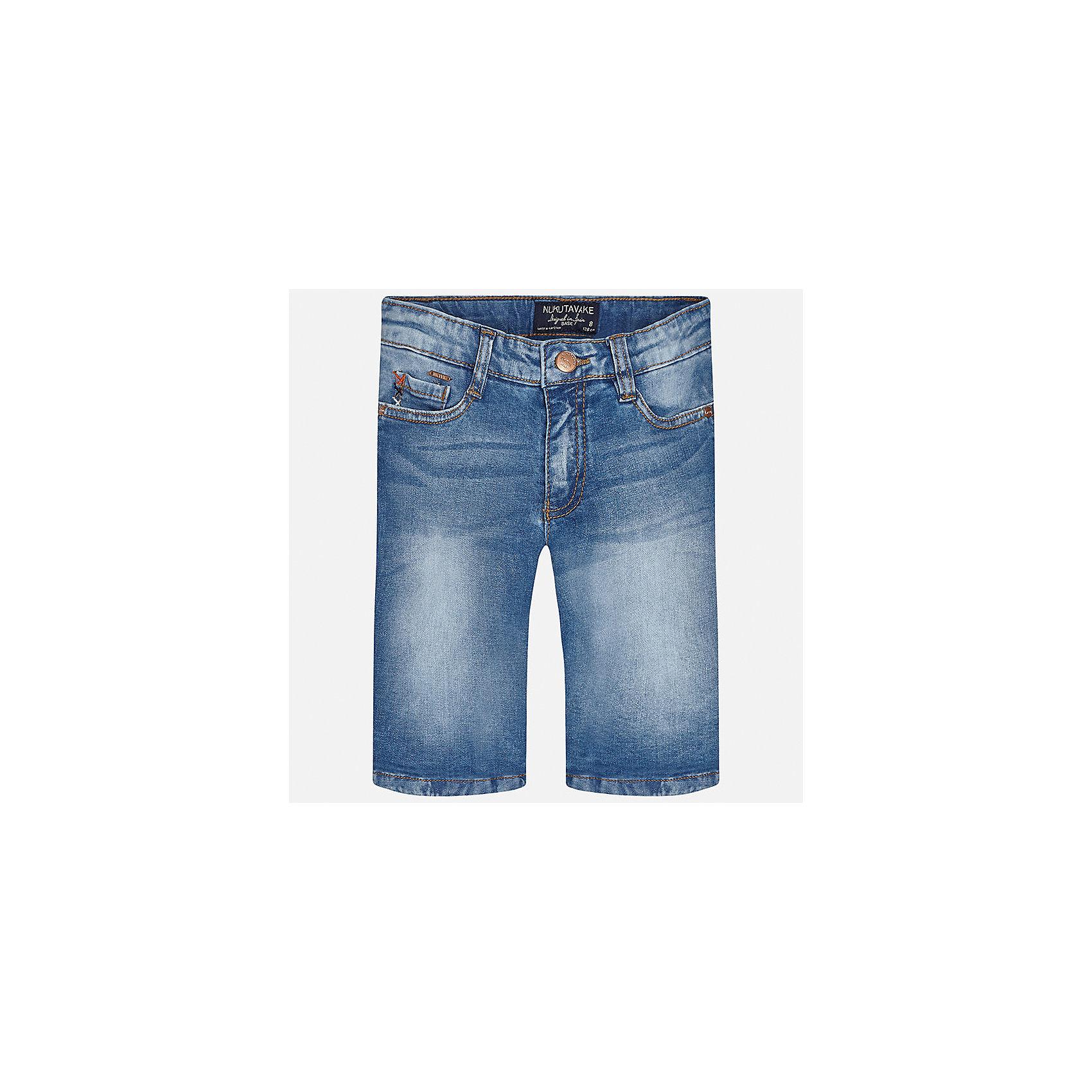 Бриджи джинсовые для мальчика MayoralШорты, бриджи, капри<br>Характеристики товара:<br><br>• цвет: синий<br>• состав: 97% хлопок, 3% эластан<br>• шлевки<br>• карманы<br>• пояс с регулировкой объема<br>• имитация потертостей<br>• страна бренда: Испания<br><br>Стильные шорты для мальчика смогут стать базовой вещью в гардеробе ребенка. Они отлично сочетаются с майками, футболками, рубашками и т.д. Универсальный крой и цвет позволяет подобрать к вещи верх разных расцветок. Практичное и стильное изделие! В составе материала - натуральный хлопок, гипоаллергенный, приятный на ощупь, дышащий.<br><br>Одежда, обувь и аксессуары от испанского бренда Mayoral полюбились детям и взрослым по всему миру. Модели этой марки - стильные и удобные. Для их производства используются только безопасные, качественные материалы и фурнитура. Порадуйте ребенка модными и красивыми вещами от Mayoral! <br><br>Шорты для мальчика от испанского бренда Mayoral (Майорал) можно купить в нашем интернет-магазине.<br><br>Ширина мм: 191<br>Глубина мм: 10<br>Высота мм: 175<br>Вес г: 273<br>Цвет: синий<br>Возраст от месяцев: 84<br>Возраст до месяцев: 96<br>Пол: Мужской<br>Возраст: Детский<br>Размер: 128/134,140,170,164,158,152<br>SKU: 5281722