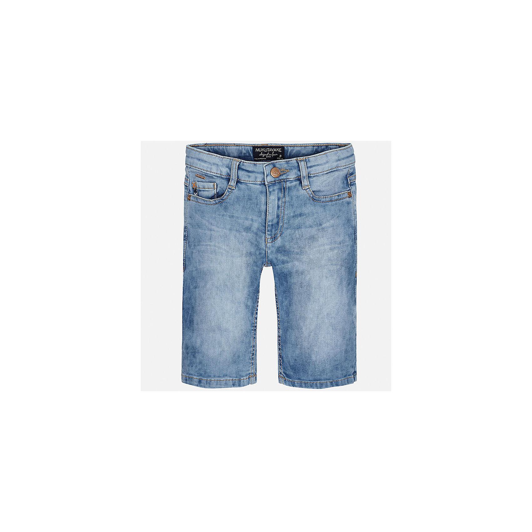 Шорты джинсовые для мальчика MayoralДжинсовая одежда<br>Характеристики товара:<br><br>• цвет: голубой<br>• состав: 97% хлопок, 3% эластан<br>• шлевки<br>• карманы<br>• пояс с регулировкой объема<br>• имитация потертостей<br>• страна бренда: Испания<br><br>Стильные шорты для мальчика смогут стать базовой вещью в гардеробе ребенка. Они отлично сочетаются с майками, футболками, рубашками и т.д. Универсальный крой и цвет позволяет подобрать к вещи верх разных расцветок. Практичное и стильное изделие! В составе материала - натуральный хлопок, гипоаллергенный, приятный на ощупь, дышащий.<br><br>Одежда, обувь и аксессуары от испанского бренда Mayoral полюбились детям и взрослым по всему миру. Модели этой марки - стильные и удобные. Для их производства используются только безопасные, качественные материалы и фурнитура. Порадуйте ребенка модными и красивыми вещами от Mayoral! <br><br>Шорты для мальчика от испанского бренда Mayoral (Майорал) можно купить в нашем интернет-магазине.<br><br>Ширина мм: 191<br>Глубина мм: 10<br>Высота мм: 175<br>Вес г: 273<br>Цвет: синий<br>Возраст от месяцев: 144<br>Возраст до месяцев: 156<br>Пол: Мужской<br>Возраст: Детский<br>Размер: 164,128/134,170,158,152,140<br>SKU: 5281729