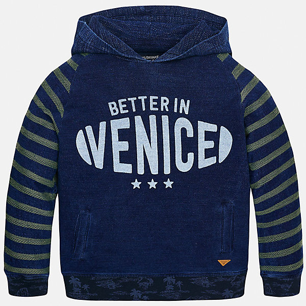 Толстовка для мальчика MayoralТолстовки<br>Характеристики товара:<br><br>• цвет: синий<br>• состав: 76% хлопок, 24% полиэстер<br>• рукава длинные <br>• принт<br>• капюшон<br>• манжеты<br>• страна бренда: Испания<br><br>Удобный и красивый свитер для мальчика поможет разнообразить гардероб ребенка и обеспечить тепло. Он отлично сочетается и с джинсами, и с брюками. Универсальный цвет позволяет подобрать к вещи низ различных расцветок. Интересная отделка модели делает её нарядной и оригинальной. В составе материала - натуральный хлопок, гипоаллергенный, приятный на ощупь, дышащий.<br><br>Одежда, обувь и аксессуары от испанского бренда Mayoral полюбились детям и взрослым по всему миру. Модели этой марки - стильные и удобные. Для их производства используются только безопасные, качественные материалы и фурнитура. Порадуйте ребенка модными и красивыми вещами от Mayoral! <br><br>Свитер для мальчика от испанского бренда Mayoral (Майорал) можно купить в нашем интернет-магазине.<br>Ширина мм: 190; Глубина мм: 74; Высота мм: 229; Вес г: 236; Цвет: синий; Возраст от месяцев: 84; Возраст до месяцев: 96; Пол: Мужской; Возраст: Детский; Размер: 128/134,164,158,170,152,140; SKU: 5281853;
