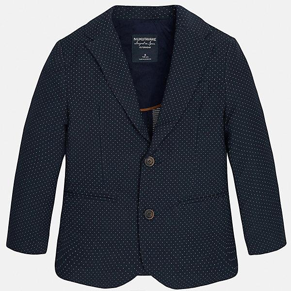 Пиджак для мальчика MayoralКостюмы и пиджаки<br>Характеристики товара:<br><br>• цвет: синий<br>• состав: 87% хлопок, 10% полиэстер, 3% эластан<br>• в мелкий горох<br>• рукава длинные <br>• карманы<br>• пуговицы <br>• отложной воротник<br>• страна бренда: Испания<br><br>Удобный и красивый пиджак для мальчика поможет разнообразить гардероб ребенка и дополнить наряд. Он отлично сочетается с брюками классического кроя. Универсальный цвет позволяет подобрать к вещи низ различных расцветок. Модное и элегантное изделие. В составе материала - натуральный хлопок, гипоаллергенный, приятный на ощупь, дышащий.<br><br>Одежда, обувь и аксессуары от испанского бренда Mayoral полюбились детям и взрослым по всему миру. Модели этой марки - стильные и удобные. Для их производства используются только безопасные, качественные материалы и фурнитура. Порадуйте ребенка модными и красивыми вещами от Mayoral! <br><br>Пиджак для мальчика от испанского бренда Mayoral (Майорал) можно купить в нашем интернет-магазине.<br><br>Ширина мм: 174<br>Глубина мм: 10<br>Высота мм: 169<br>Вес г: 157<br>Цвет: синий<br>Возраст от месяцев: 84<br>Возраст до месяцев: 96<br>Пол: Мужской<br>Возраст: Детский<br>Размер: 128/134,170,140,152,158,164<br>SKU: 5281888