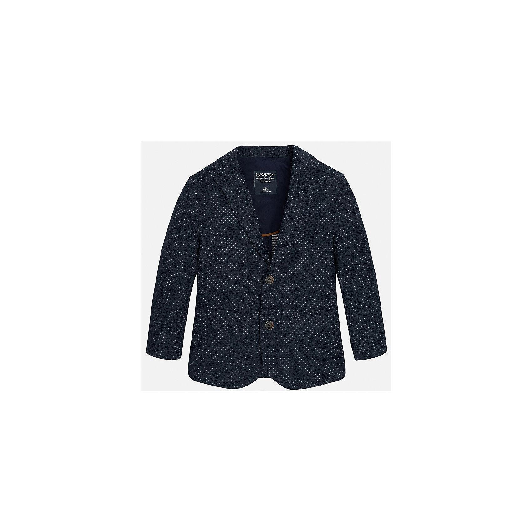 Пиджак для мальчика MayoralПиджаки и костюмы<br>Характеристики товара:<br><br>• цвет: синий<br>• состав: 87% хлопок, 10% полиэстер, 3% эластан<br>• в мелкий горох<br>• рукава длинные <br>• карманы<br>• пуговицы <br>• отложной воротник<br>• страна бренда: Испания<br><br>Удобный и красивый пиджак для мальчика поможет разнообразить гардероб ребенка и дополнить наряд. Он отлично сочетается с брюками классического кроя. Универсальный цвет позволяет подобрать к вещи низ различных расцветок. Модное и элегантное изделие. В составе материала - натуральный хлопок, гипоаллергенный, приятный на ощупь, дышащий.<br><br>Одежда, обувь и аксессуары от испанского бренда Mayoral полюбились детям и взрослым по всему миру. Модели этой марки - стильные и удобные. Для их производства используются только безопасные, качественные материалы и фурнитура. Порадуйте ребенка модными и красивыми вещами от Mayoral! <br><br>Пиджак для мальчика от испанского бренда Mayoral (Майорал) можно купить в нашем интернет-магазине.<br><br>Ширина мм: 174<br>Глубина мм: 10<br>Высота мм: 169<br>Вес г: 157<br>Цвет: синий<br>Возраст от месяцев: 84<br>Возраст до месяцев: 96<br>Пол: Мужской<br>Возраст: Детский<br>Размер: 128/134,170,164,158,152,140<br>SKU: 5281888