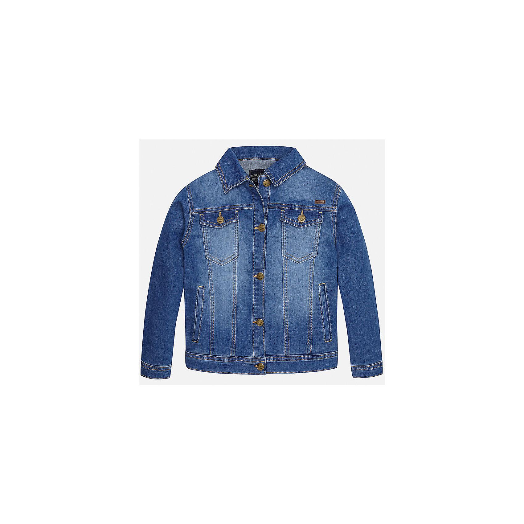 Куртка джинсовая для мальчика MayoralХарактеристики товара:<br><br>• цвет: голубой<br>• состав: 97% хлопок, 3% эластан<br>• отложной воротник<br>• карманы<br>• застежка: пуговицы<br>• эффект потертостей<br>• страна бренда: Испания<br><br>Джинсовая куртка для мальчика может стать базовой вещью в гардеробе ребенка. Она отлично сочетается с майками, футболками, рубашками и т.д. Универсальный крой и цвет позволяет подобрать к вещи низ разных расцветок. Практичное и стильное изделие! В составе материала - натуральный хлопок, гипоаллергенный, приятный на ощупь, дышащий.<br><br>Одежда, обувь и аксессуары от испанского бренда Mayoral полюбились детям и взрослым по всему миру. Модели этой марки - стильные и удобные. Для их производства используются только безопасные, качественные материалы и фурнитура. Порадуйте ребенка модными и красивыми вещами от Mayoral! <br><br>Куртку для мальчика от испанского бренда Mayoral (Майорал) можно купить в нашем интернет-магазине.<br><br>Ширина мм: 356<br>Глубина мм: 10<br>Высота мм: 245<br>Вес г: 519<br>Цвет: голубой<br>Возраст от месяцев: 84<br>Возраст до месяцев: 96<br>Пол: Мужской<br>Возраст: Детский<br>Размер: 140,128/134,170,164,158,152<br>SKU: 5281895