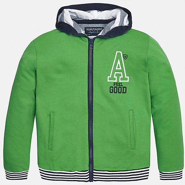 Толстовка для мальчика MayoralТолстовки<br>Характеристики товара:<br><br>• цвет: зеленый<br>• состав: 100% хлопок<br>• капюшон<br>• карманы<br>• застежка: молния<br>• вышивка<br>• страна бренда: Испания<br><br>Модная куртка для мальчика может стать базовой вещью в гардеробе ребенка. Она отлично сочетается с майками, футболками, рубашками и т.д. Универсальный крой и цвет позволяет подобрать к вещи низ разных расцветок. Практичное и стильное изделие! В составе материала - натуральный хлопок, гипоаллергенный, приятный на ощупь, дышащий.<br><br>Одежда, обувь и аксессуары от испанского бренда Mayoral полюбились детям и взрослым по всему миру. Модели этой марки - стильные и удобные. Для их производства используются только безопасные, качественные материалы и фурнитура. Порадуйте ребенка модными и красивыми вещами от Mayoral! <br><br>Куртку для мальчика от испанского бренда Mayoral (Майорал) можно купить в нашем интернет-магазине.<br><br>Ширина мм: 356<br>Глубина мм: 10<br>Высота мм: 245<br>Вес г: 519<br>Цвет: зеленый<br>Возраст от месяцев: 156<br>Возраст до месяцев: 168<br>Пол: Мужской<br>Возраст: Детский<br>Размер: 128/134,140,152,158,164,170<br>SKU: 5281916