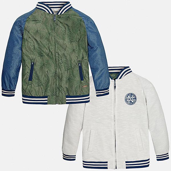 Куртка двухсторонняя для мальчика MayoralВерхняя одежда<br>Характеристики товара:<br><br>• цвет: зеленый/белый<br>• состав: 100% полиэстер, подкладка - 60% хлопок, 40% полиэстер<br>• температурный режим: от +15°до +10°С<br>• двусторонняя<br>• карманы<br>• молния<br>• манжеты<br>• страна бренда: Испания<br><br>Легкая куртка для мальчика поможет разнообразить гардероб ребенка и обеспечить тепло в прохладную погоду. Эта ветровка - два в одном: стоит её вывернуть - и появляется еще одна курточка другой расцветки. Она отлично сочетается и с джинсами, и с брюками. Универсальный цвет позволяет подобрать к вещи низ различных расцветок. Интересная отделка модели делает её нарядной и оригинальной. <br><br>Одежда, обувь и аксессуары от испанского бренда Mayoral полюбились детям и взрослым по всему миру. Модели этой марки - стильные и удобные. Для их производства используются только безопасные, качественные материалы и фурнитура. Порадуйте ребенка модными и красивыми вещами от Mayoral! <br><br>Куртку для мальчика от испанского бренда Mayoral (Майорал) можно купить в нашем интернет-магазине.<br>Ширина мм: 356; Глубина мм: 10; Высота мм: 245; Вес г: 519; Цвет: серый; Возраст от месяцев: 84; Возраст до месяцев: 96; Пол: Мужской; Возраст: Детский; Размер: 128/134,158,140,152; SKU: 5281935;