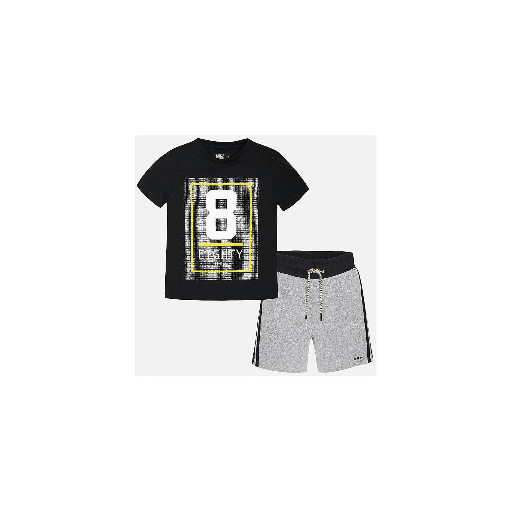 Комплект: футболка и шорты для мальчика MayoralСпортивная форма<br>Характеристики товара:<br><br>• цвет: синий/серый<br>• состав: 100% хлопок<br>• комплектация: шорты, футболка<br>• круглый горловой вырез<br>• декорирована принтом<br>• короткие рукава<br>• шорты - пояс со шнурком<br>• страна бренда: Испания<br><br>Стильная удобная футболка с принтом и шорты помогут разнообразить гардероб мальчика и удобно одеться. Универсальный цвет позволяет подобрать к вещам верхнюю одежду практически любой расцветки. Интересная отделка модели делает её нарядной и оригинальной. В составе материала - только натуральный хлопок, гипоаллергенный, приятный на ощупь, дышащий.<br><br>Одежда, обувь и аксессуары от испанского бренда Mayoral полюбились детям и взрослым по всему миру. Модели этой марки - стильные и удобные. Для их производства используются только безопасные, качественные материалы и фурнитура. Порадуйте ребенка модными и красивыми вещами от Mayoral! <br><br>Комплект для мальчика от испанского бренда Mayoral (Майорал) можно купить в нашем интернет-магазине.<br><br>Ширина мм: 215<br>Глубина мм: 88<br>Высота мм: 191<br>Вес г: 336<br>Цвет: серый<br>Возраст от месяцев: 132<br>Возраст до месяцев: 144<br>Пол: Мужской<br>Возраст: Детский<br>Размер: 158,152,140,170,128/134,164<br>SKU: 5282052