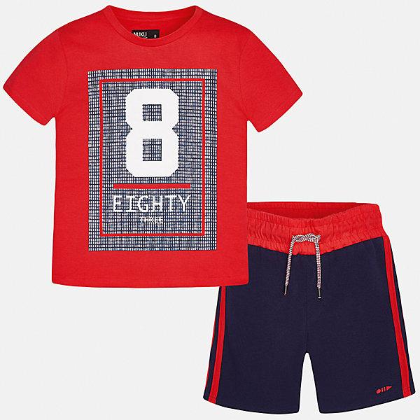 Комплект: футболка и брюки для мальчика MayoralСпортивная форма<br>Характеристики товара:<br><br>• цвет: красный/синий<br>• состав: 100% хлопок<br>• комплектация: шорты, футболка<br>• круглый горловой вырез<br>• декорирована принтом<br>• короткие рукава<br>• шорты - пояс со шнурком<br>• страна бренда: Испания<br><br>Стильная удобная футболка с принтом и шорты помогут разнообразить гардероб мальчика и удобно одеться. Универсальный цвет позволяет подобрать к вещам верхнюю одежду практически любой расцветки. Интересная отделка модели делает её нарядной и оригинальной. В составе материала - только натуральный хлопок, гипоаллергенный, приятный на ощупь, дышащий.<br><br>Одежда, обувь и аксессуары от испанского бренда Mayoral полюбились детям и взрослым по всему миру. Модели этой марки - стильные и удобные. Для их производства используются только безопасные, качественные материалы и фурнитура. Порадуйте ребенка модными и красивыми вещами от Mayoral! <br><br>Комплект для мальчика от испанского бренда Mayoral (Майорал) можно купить в нашем интернет-магазине.<br><br>Ширина мм: 215<br>Глубина мм: 88<br>Высота мм: 191<br>Вес г: 336<br>Цвет: розовый<br>Возраст от месяцев: 144<br>Возраст до месяцев: 156<br>Пол: Мужской<br>Возраст: Детский<br>Размер: 164,170,158,152,140,128/134<br>SKU: 5282059