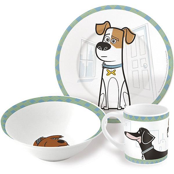 Набор керамической посуды Тайная жизнь домашних животных (3 предмета)Детская посуда<br>Характеристики товара:<br><br>• материал: керамика<br>• комплектация: кружка, тарелка, миска<br>• украшен рисунком<br>• размер упаковки: 25х9х20 см<br>• упаковка: коробка<br>• вес: 964 г<br>• для продуктов питания<br>• страна производства: Китай<br><br>Такой набор посуды станет отличным подарком для ребенка! Она отличается тем, что на предметах изображены известные герои мультфильма Тайная жизнь домашних животных. Есть из предметов с любимым героем многих современных детей - всегда приятнее. Набор очень удобен, объем оптимален для детей, сюда как раз вместится детский обед. Набор продается в красивой подарочной упаковке.<br>Посуда выпущена в удобном формате, размер - универсальный. Изделия производятся из качественных и проверенных материалов, которые безопасны для детей.<br><br>Набор керамической посуды Тайная жизнь домашних животных (3 предмета) можно купить в нашем интернет-магазине.<br>Ширина мм: 250; Глубина мм: 87; Высота мм: 197; Вес г: 964; Возраст от месяцев: 36; Возраст до месяцев: 108; Пол: Унисекс; Возраст: Детский; SKU: 5282082;