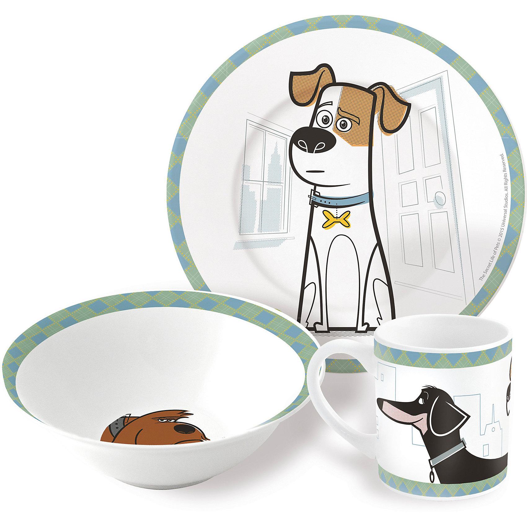 Набор керамической посуды Тайная жизнь домашних животных (3 предмета)Характеристики товара:<br><br>• материал: керамика<br>• комплектация: кружка, тарелка, миска<br>• украшен рисунком<br>• размер упаковки: 25х9х20 см<br>• упаковка: коробка<br>• вес: 964 г<br>• для продуктов питания<br>• страна производства: Китай<br><br>Такой набор посуды станет отличным подарком для ребенка! Она отличается тем, что на предметах изображены известные герои мультфильма Тайная жизнь домашних животных. Есть из предметов с любимым героем многих современных детей - всегда приятнее. Набор очень удобен, объем оптимален для детей, сюда как раз вместится детский обед. Набор продается в красивой подарочной упаковке.<br>Посуда выпущена в удобном формате, размер - универсальный. Изделия производятся из качественных и проверенных материалов, которые безопасны для детей.<br><br>Набор керамической посуды Тайная жизнь домашних животных (3 предмета) можно купить в нашем интернет-магазине.<br><br>Ширина мм: 250<br>Глубина мм: 87<br>Высота мм: 197<br>Вес г: 964<br>Возраст от месяцев: 36<br>Возраст до месяцев: 108<br>Пол: Унисекс<br>Возраст: Детский<br>SKU: 5282082