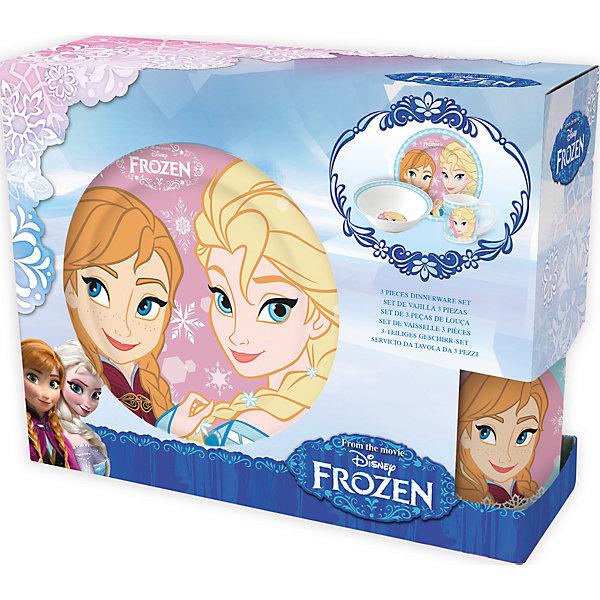 Набор керамической посуды Холодное сердце: Сёстры (3 предмета)Детская посуда<br>Характеристики товара:<br><br>• материал: керамика<br>• комплектация: кружка, тарелка, миска<br>• украшен рисунком<br>• размер упаковки: 25х9х20 см<br>• упаковка: коробка<br>• вес: 964 г<br>• для продуктов питания<br>• страна производства: Китай<br><br>Такой набор посуды станет отличным подарком для ребенка! Она отличается тем, что на предметах изображены известные герои мультфильма Холодное сердце: Сёстры. Есть из предметов с любимым героем многих современных детей - всегда приятнее. Набор очень удобен, объем оптимален для детей, сюда как раз вместится детский обед. Набор продается в красивой подарочной упаковке.<br>Посуда выпущена в удобном формате, размер - универсальный. Изделия производятся из качественных и проверенных материалов, которые безопасны для детей.<br><br>Набор керамической посуды Холодное сердце: Сёстры (3 предмета) можно купить в нашем интернет-магазине.<br>Ширина мм: 250; Глубина мм: 87; Высота мм: 197; Вес г: 964; Возраст от месяцев: 36; Возраст до месяцев: 144; Пол: Женский; Возраст: Детский; SKU: 5282084;