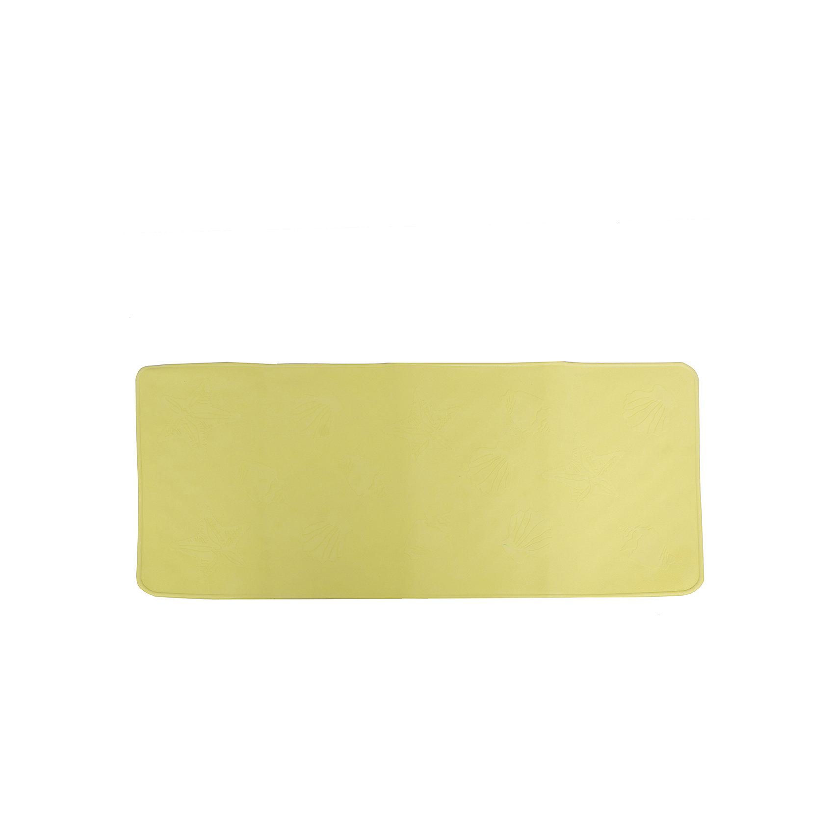 Антискользящий коврик для ванной, Roxy-Kids, салатовыйАнтискользящий коврик для ванны, Roxy-Kids<br>Противоскользящие коврики для ванны созданы специально для детей и призваны обеспечить комфортное и безопасное купание малышей в ванне. Они обладают целым рядом важных преимуществ:<br>- мягкие присоски надежно прикрепляют коврик ко дну ванны и не дают ему скользить по ванне, как бы активно ни двигался малыш; <br>- специальное покрытие препятствует скольжению ног или тела ребенка по коврику; <br>- поверхность коврика имеет рельефные элементы, обеспечивающие массажные функции, благодаря которым, купание малыша в ванне станет не только простым и безопасным, но еще и полезным.<br>Дополнительная информация:<br>- размеры 34х74 см.;<br>- сделаны из 100% натуральной резины без применения токсичного сырья.<br><br>Антискользящий  коврик для ванны можно купить в нашем интернет-магазине.<br><br>Ширина мм: 340<br>Глубина мм: 740<br>Высота мм: 10<br>Вес г: 300<br>Возраст от месяцев: 6<br>Возраст до месяцев: 84<br>Пол: Унисекс<br>Возраст: Детский<br>SKU: 5282140