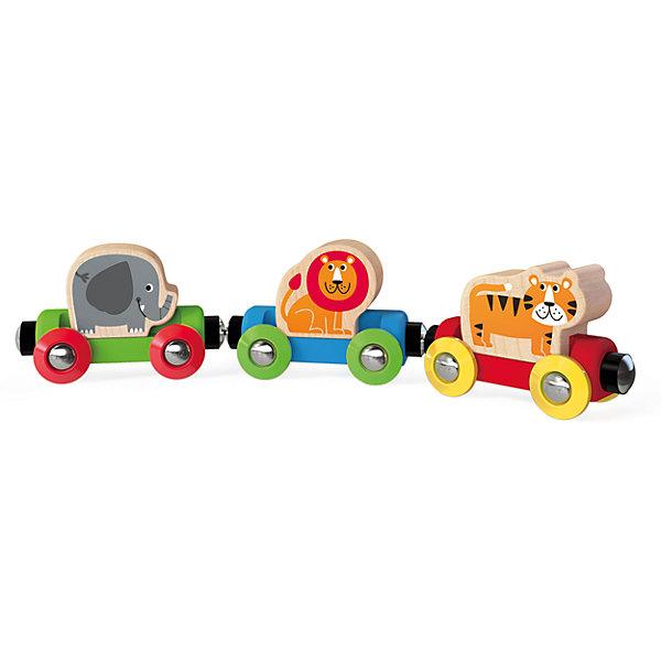 Развивающий набор Веселые животные, HapeКаталки и качалки<br>Развивающий набор Веселые животные, Hape (Хейп).<br><br>Характеристики:<br><br>- Материал: древесина<br>- Размер игрушки: 23х3,3х5 см.<br><br>Развивающий набор Веселые животные является отличным подарком, как для девочек, так и для мальчиков. Он изготовлен из экологически чистых пород дерева и имеет прекрасную полировку. Набор состоит из трех вагончиков, которые крепятся друг к другу магнитными элементами, расположенными в передней и задней частях, что позволяет легко и быстро отсоединять их, и комбинировать в ходе игры. Поезд спешит доставить в джунгли своих пассажиров: льва, тигра и слона. Каждая из этих фигурок съемная и малыш может играть с ними отдельно. Вагончиками также можно дополнить развивающий набор Железная дорога (E3800). Игрушка имеет идеальный размер для маленьких ручек, чтобы ребенку было максимально комфортно играть с ней. Играя с набором Веселые животные, ваш малыш будет развивать мелкую моторику, воображение и цветовосприятие.<br><br>Развивающий набор Веселые животные, Hape (Хейп) можно купить в нашем интернет-магазине.<br>Ширина мм: 33; Глубина мм: 230; Высота мм: 50; Вес г: 140; Возраст от месяцев: 18; Возраст до месяцев: 48; Пол: Унисекс; Возраст: Детский; SKU: 5283593;