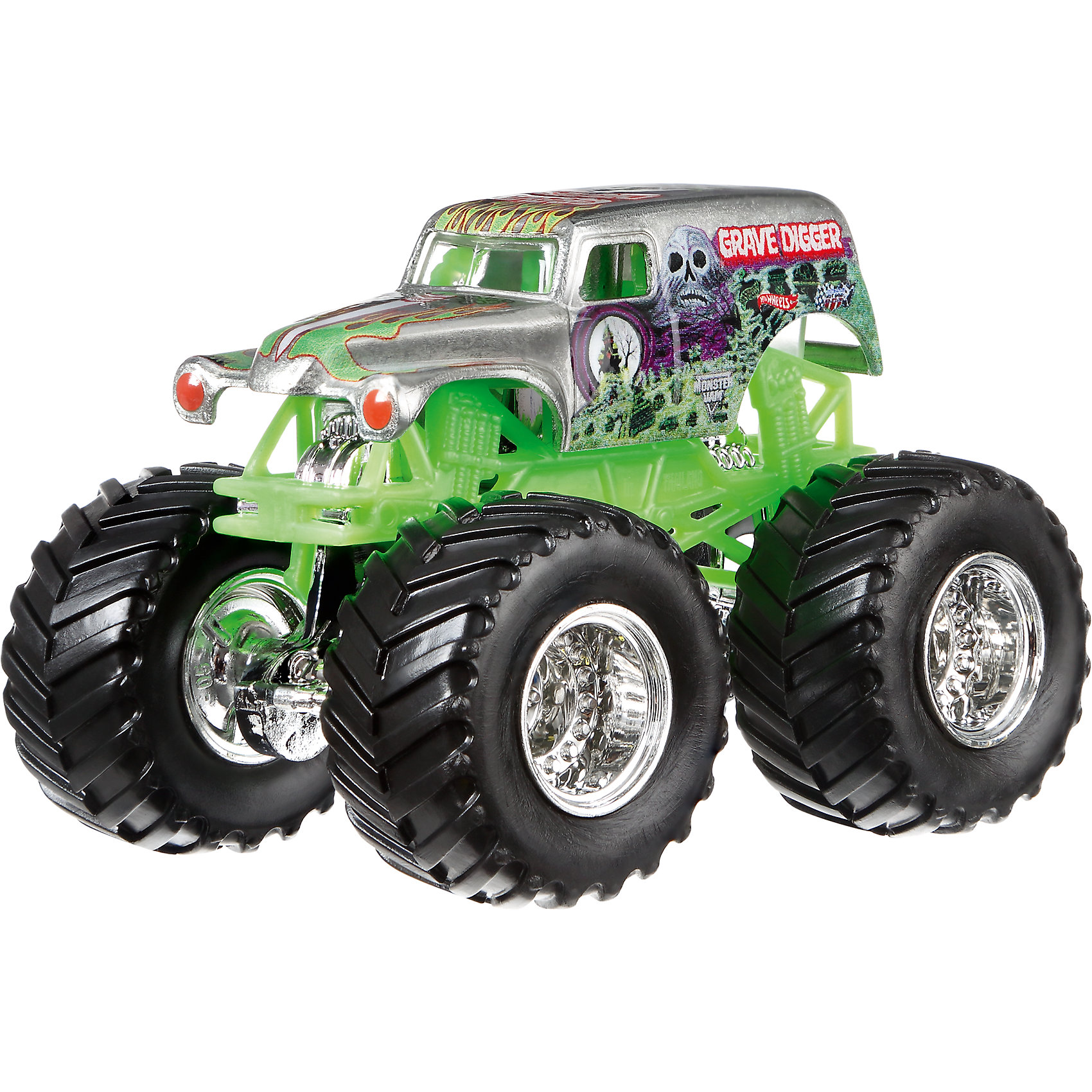 Машинка 1:64,  Monster Jam, Hot WheelsМашинки<br>Характеристики игрушечной машинки Хот Вилс:<br><br>• серия: Monster Jam;<br>• масштаб: 1:64;<br>• литой корпус;<br>• хромированные диски;<br>• проходимость колес; <br>• длина машинки: 8,5 см;<br>• размер упаковки: 17,5х14х7,5 см;<br>• вес в упаковке: 115 г.<br><br>Игрушечная модель машинки Hot Wheels на мощных колесах большого диаметра отличается высокой проходимостью, претендует на первенство в гонках, имеет литой корпус. Комбинированное использования пластика и металла делает машинку прочной и устойчивой к ударам и падениям. Тюнинг трюкового внедорожника Monster Jam соответствует пожеланиям юных коллекционеров линейки автомобилей Hot Wheels. <br><br>Машинку 1:64, Monster Jam, Hot Wheels можно купить в нашем интернет-магазине.<br><br>Ширина мм: 65<br>Глубина мм: 140<br>Высота мм: 175<br>Вес г: 130<br>Возраст от месяцев: 36<br>Возраст до месяцев: 84<br>Пол: Мужской<br>Возраст: Детский<br>SKU: 5284999