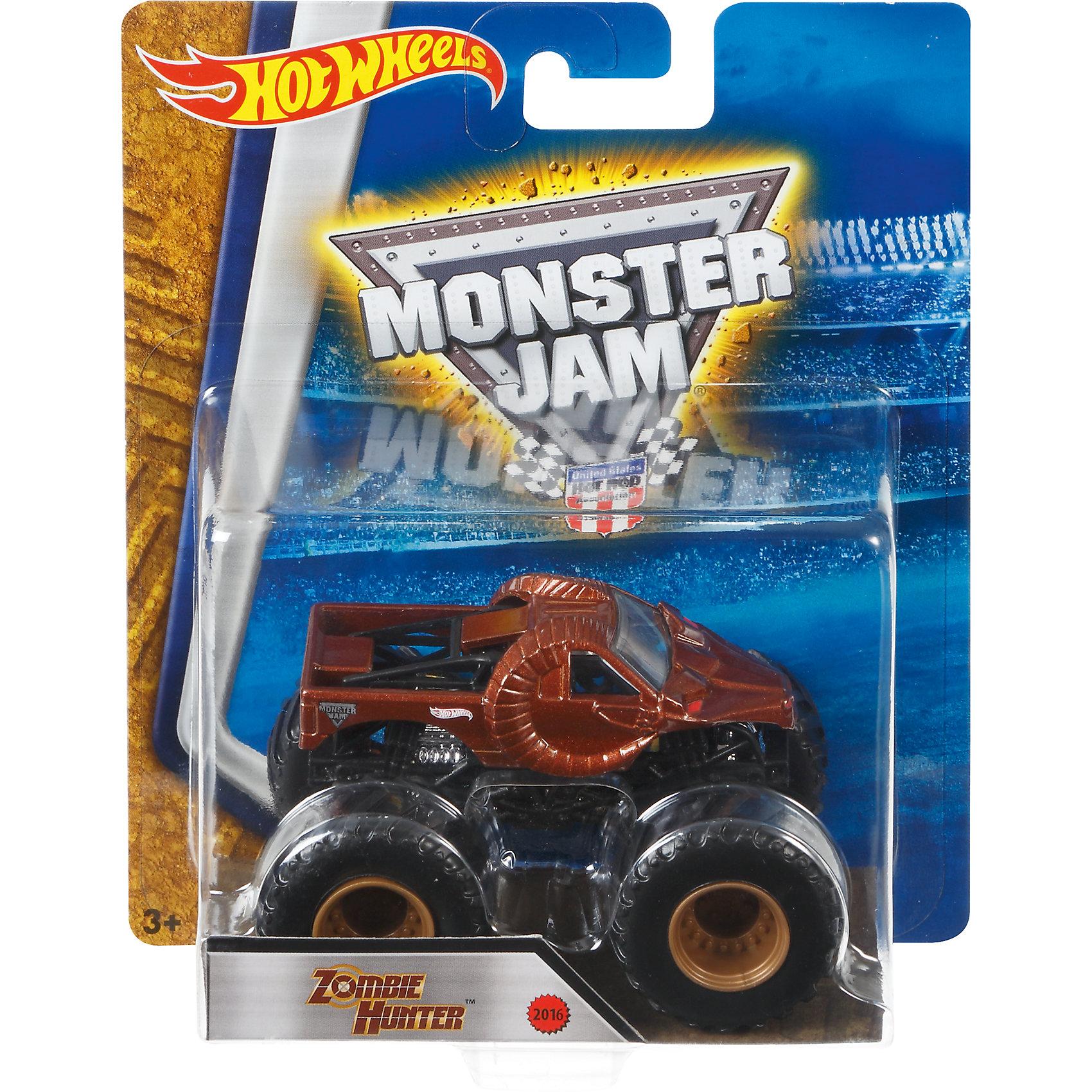 Машинка 1:64,  Monster Jam, Hot WheelsПопулярные игрушки<br>Характеристики игрушечной машинки Хот Вилс:<br><br>• серия: Monster Jam;<br>• масштаб: 1:64;<br>• литой корпус;<br>• хромированные диски;<br>• проходимость колес; <br>• длина машинки: 8,5 см;<br>• размер упаковки: 17,5х14х7,5 см;<br>• вес в упаковке: 115 г.<br><br>Игрушечная модель машинки Hot Wheels на мощных колесах большого диаметра отличается высокой проходимостью, претендует на первенство в гонках, имеет литой корпус. Комбинированное использования пластика и металла делает машинку прочной и устойчивой к ударам и падениям. Тюнинг трюкового внедорожника Monster Jam соответствует пожеланиям юных коллекционеров линейки автомобилей Hot Wheels. <br><br>Машинку 1:64, Monster Jam, Hot Wheels можно купить в нашем интернет-магазине.<br><br>Ширина мм: 65<br>Глубина мм: 140<br>Высота мм: 175<br>Вес г: 130<br>Возраст от месяцев: 36<br>Возраст до месяцев: 84<br>Пол: Мужской<br>Возраст: Детский<br>SKU: 5285003