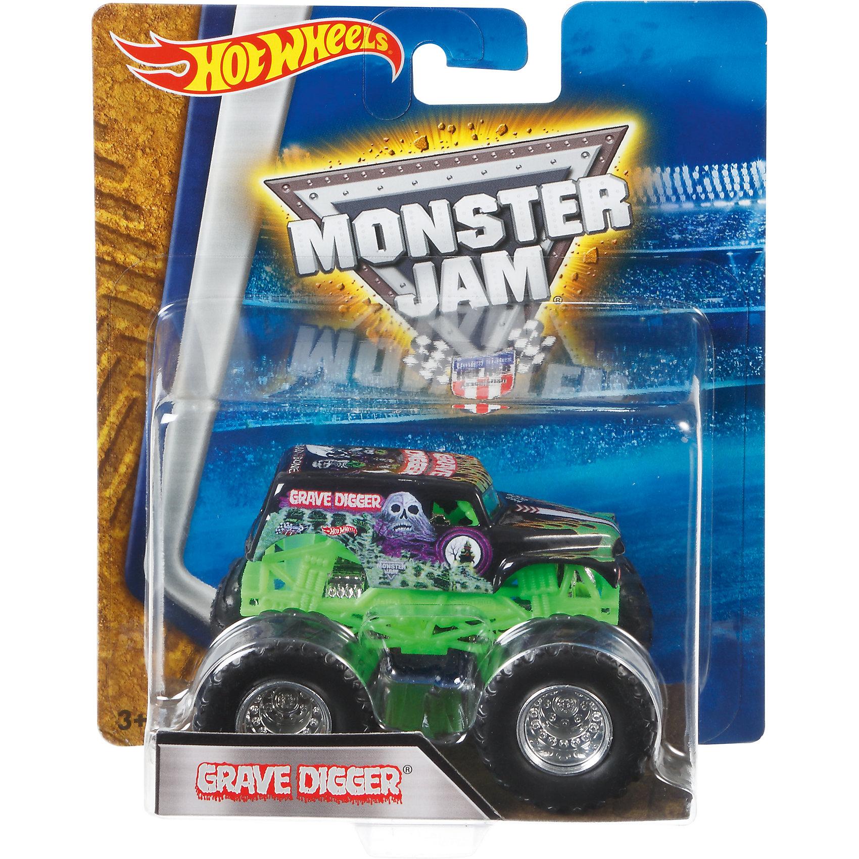 Машинка 1:64,  Monster Jam, Hot WheelsМашинки<br>Характеристики игрушечной машинки Хот Вилс:<br><br>• серия: Monster Jam;<br>• масштаб: 1:64;<br>• литой корпус;<br>• хромированные диски;<br>• проходимость колес; <br>• длина машинки: 8,5 см;<br>• размер упаковки: 17,5х14х7,5 см;<br>• вес в упаковке: 115 г.<br><br>Игрушечная модель машинки Hot Wheels на мощных колесах большого диаметра отличается высокой проходимостью, претендует на первенство в гонках, имеет литой корпус. Комбинированное использования пластика и металла делает машинку прочной и устойчивой к ударам и падениям. Тюнинг трюкового внедорожника Monster Jam соответствует пожеланиям юных коллекционеров линейки автомобилей Hot Wheels. <br><br>Машинку 1:64, Monster Jam, Hot Wheels можно купить в нашем интернет-магазине.<br><br>Ширина мм: 65<br>Глубина мм: 140<br>Высота мм: 175<br>Вес г: 130<br>Возраст от месяцев: 36<br>Возраст до месяцев: 84<br>Пол: Мужской<br>Возраст: Детский<br>SKU: 5285004