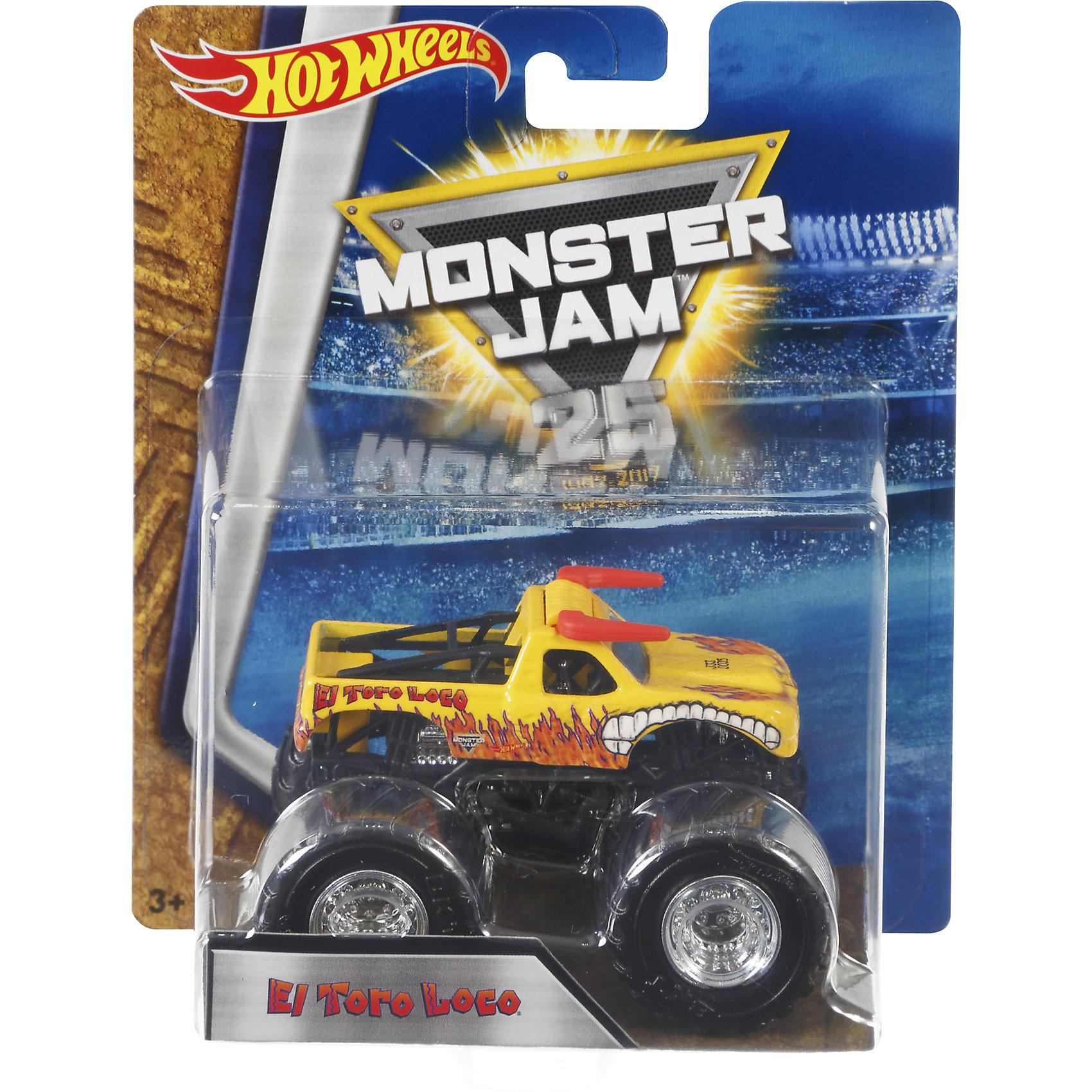 Машинка 1:64,  Monster Jam, Hot WheelsХарактеристики игрушечной машинки Хот Вилс:<br><br>• серия: Monster Jam;<br>• масштаб: 1:64;<br>• литой корпус;<br>• хромированные диски;<br>• проходимость колес; <br>• длина машинки: 8,5 см;<br>• размер упаковки: 17,5х14х7,5 см;<br>• вес в упаковке: 115 г.<br><br>Игрушечная модель машинки Hot Wheels на мощных колесах большого диаметра отличается высокой проходимостью, претендует на первенство в гонках, имеет литой корпус. Комбинированное использования пластика и металла делает машинку прочной и устойчивой к ударам и падениям. Тюнинг трюкового внедорожника Monster Jam соответствует пожеланиям юных коллекционеров линейки автомобилей Hot Wheels. <br><br>Машинку 1:64, Monster Jam, Hot Wheels можно купить в нашем интернет-магазине.<br><br>Ширина мм: 65<br>Глубина мм: 140<br>Высота мм: 175<br>Вес г: 130<br>Возраст от месяцев: 36<br>Возраст до месяцев: 84<br>Пол: Мужской<br>Возраст: Детский<br>SKU: 5285005
