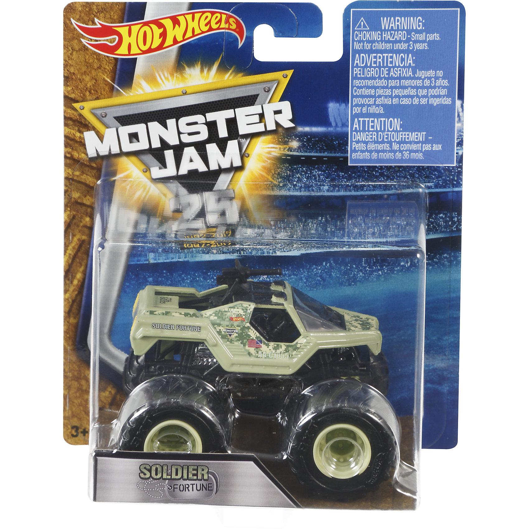 Машинка 1:64,  Monster Jam, Hot WheelsПопулярные игрушки<br>Характеристики игрушечной машинки Hot Wheels:<br><br>• серия: Monster Jam;<br>• масштаб: 1:64;<br>• литой корпус;<br>• хромированные диски;<br>• проходимость колес; <br>• длина машинки: 8,5 см;<br>• размер упаковки: 17,5х14х7,5 см;<br>• вес в упаковке: 115 г.<br><br>Игрушечная модель машинки Hot Wheels на мощных колесах большого диаметра отличается высокой проходимостью, претендует на первенство в гонках, имеет литой корпус. Комбинированное использования пластика и металла делает машинку прочной и устойчивой к ударам и падениям. Тюнинг трюкового внедорожника Monster Jam соответствует пожеланиям юных коллекционеров линейки автомобилей Hot Wheels. <br><br>Машинку 1:64, Monster Jam, Hot Wheels можно купить в нашем интернет-магазине.<br><br>Ширина мм: 65<br>Глубина мм: 140<br>Высота мм: 175<br>Вес г: 130<br>Возраст от месяцев: 36<br>Возраст до месяцев: 84<br>Пол: Мужской<br>Возраст: Детский<br>SKU: 5285009
