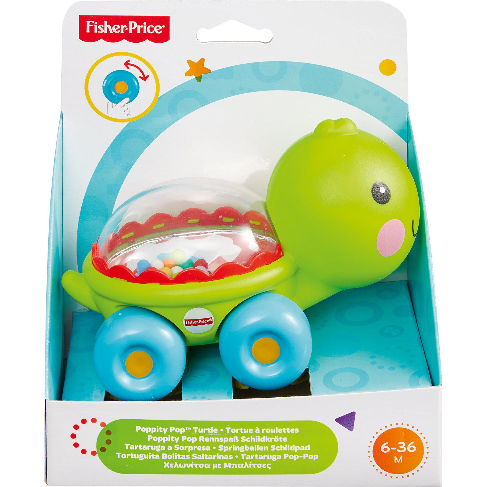 Веселая черепашка с прыгающими шариками, Fisher-PriceРазвивающие игрушки<br>Характеристики детской каталки «Веселая черепашка»:<br><br>• тип игрушки: каталка на колесиках;<br>• оформление игрушки: цветные шарики внутри прозрачного контейнера;<br>• звуковое сопровождение: эффект трещотки;<br>• материал: пластик;<br>• размер упаковки: 19х31х20 см;<br>• вес в упаковке: 200 г.<br><br>Развивающая игрушка Fisher-Price для малыша представлена в виде черепашки с прозрачным панцирем с зеркальным дном. Внутри панциря находятся цветные шарики, которые создают эффект трещотки во время движения игрушки. В процессе игры развивается наблюдательность, слуховое восприятие, координация движений. <br><br>Веселую черепашку с прыгающими шариками, Fisher-Price можно купить в нашем интернет-магазине.<br><br>Ширина мм: 150<br>Глубина мм: 95<br>Высота мм: 165<br>Вес г: 200<br>Возраст от месяцев: 6<br>Возраст до месяцев: 36<br>Пол: Унисекс<br>Возраст: Детский<br>SKU: 5285010