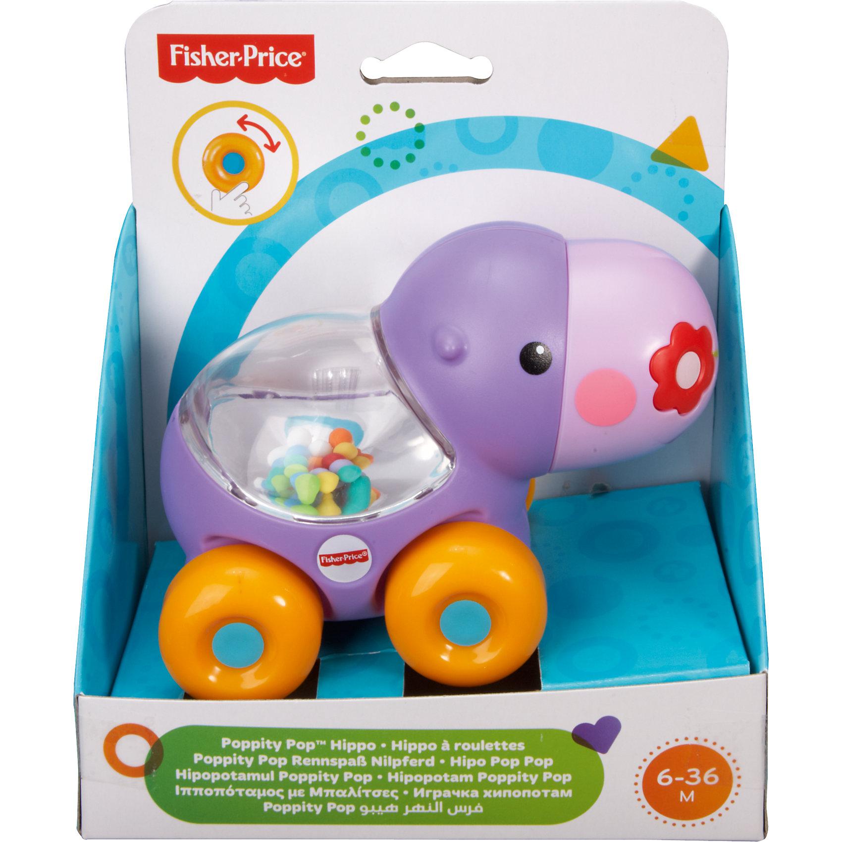 Веселый бегемотик с прыгающими шариками, Fisher-PriceРазвивающие игрушки<br>Характеристики детской каталки «Веселый бегемотик»:<br><br>• тип игрушки: каталка на колесиках;<br>• оформление игрушки: цветные шарики внутри прозрачного контейнера;<br>• звуковое сопровождение: эффект трещотки;<br>• материал: пластик;<br>• размер упаковки: 19х31х20 см;<br>• вес в упаковке: 200 г.<br><br>Развивающая игрушка Fisher-Price для малыша представлена в виде бегемотика, у которого на спинке имеется прозрачный контейнер с зеркальным дном. Внутри контейнера находятся цветные шарики, которые создают эффект трещотки во время движения игрушки. В процессе игры развивается наблюдательность, слуховое восприятие, координация движений. <br><br>Веселого бегемотика с прыгающими шариками, Fisher-Price можно купить в нашем интернет-магазине.<br><br>Ширина мм: 150<br>Глубина мм: 95<br>Высота мм: 165<br>Вес г: 200<br>Возраст от месяцев: 6<br>Возраст до месяцев: 36<br>Пол: Унисекс<br>Возраст: Детский<br>SKU: 5285011