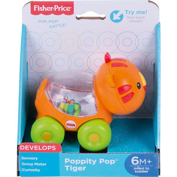 Веселый тигр с прыгающими шариками, Fisher-PriceКаталки и качалки<br>Характеристики детской каталки «Веселый тигр»:<br><br>• тип игрушки: каталка на колесиках;<br>• оформление игрушки: цветные шарики внутри прозрачного контейнера;<br>• звуковое сопровождение: эффект трещотки;<br>• материал: пластик;<br>• размер упаковки: 19х31х20 см;<br>• вес в упаковке: 200 г.<br><br>Развивающая игрушка Fisher-Price для малыша представлена в виде тигра, у которого на спинке имеется прозрачный контейнер с зеркальным дном. Внутри контейнера находятся цветные шарики, которые создают эффект трещотки во время движения игрушки. В процессе игры развивается наблюдательность, слуховое восприятие, координация движений. <br><br>Веселого тигра с прыгающими шариками, Fisher-Price можно купить в нашем интернет-магазине.<br><br>Ширина мм: 150<br>Глубина мм: 95<br>Высота мм: 165<br>Вес г: 200<br>Возраст от месяцев: 6<br>Возраст до месяцев: 36<br>Пол: Унисекс<br>Возраст: Детский<br>SKU: 5285012