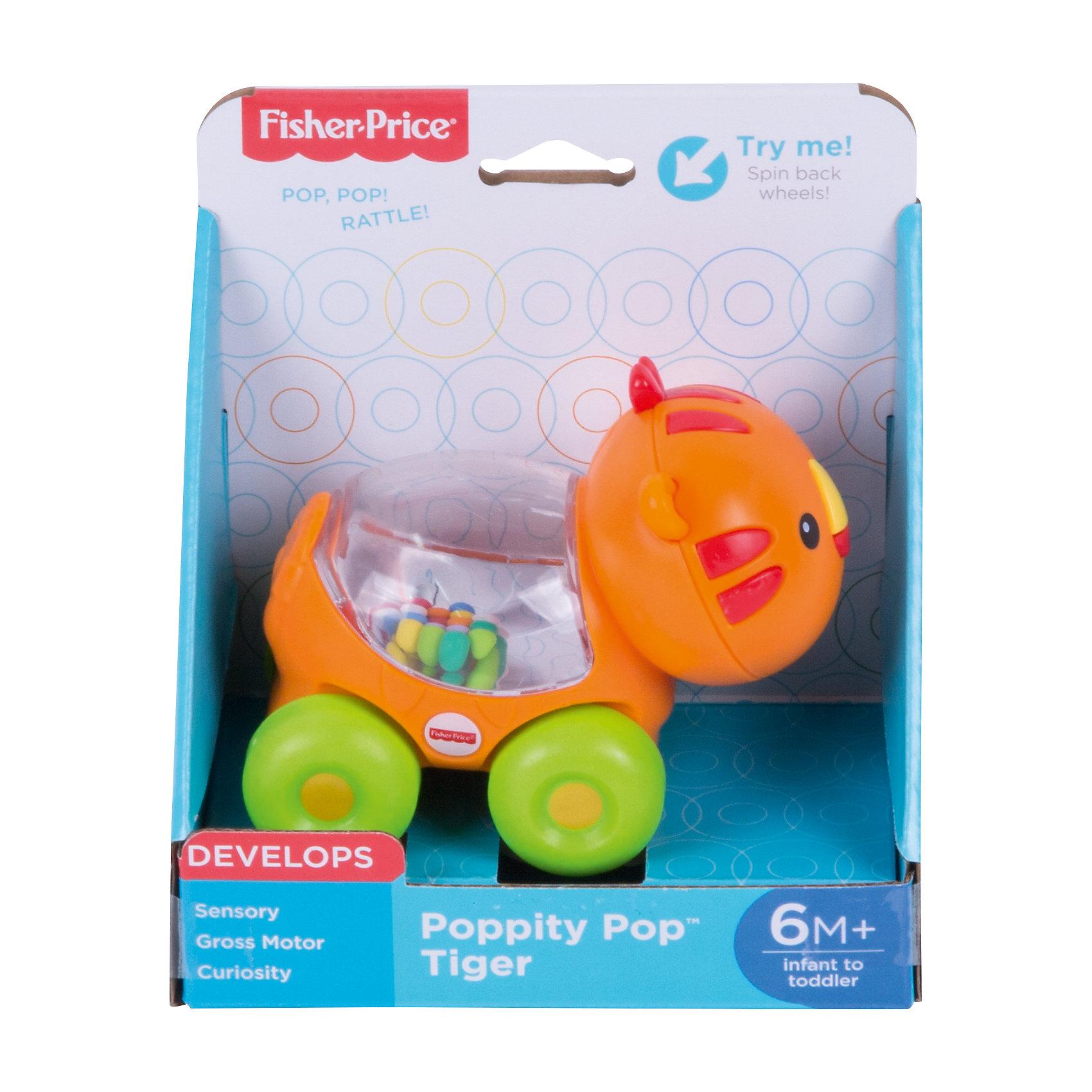 Веселый тигр с прыгающими шариками, Fisher-PriceРазвивающие игрушки<br>Характеристики детской каталки «Веселый тигр»:<br><br>• тип игрушки: каталка на колесиках;<br>• оформление игрушки: цветные шарики внутри прозрачного контейнера;<br>• звуковое сопровождение: эффект трещотки;<br>• материал: пластик;<br>• размер упаковки: 19х31х20 см;<br>• вес в упаковке: 200 г.<br><br>Развивающая игрушка Fisher-Price для малыша представлена в виде тигра, у которого на спинке имеется прозрачный контейнер с зеркальным дном. Внутри контейнера находятся цветные шарики, которые создают эффект трещотки во время движения игрушки. В процессе игры развивается наблюдательность, слуховое восприятие, координация движений. <br><br>Веселого тигра с прыгающими шариками, Fisher-Price можно купить в нашем интернет-магазине.<br><br>Ширина мм: 150<br>Глубина мм: 95<br>Высота мм: 165<br>Вес г: 200<br>Возраст от месяцев: 6<br>Возраст до месяцев: 36<br>Пол: Унисекс<br>Возраст: Детский<br>SKU: 5285012
