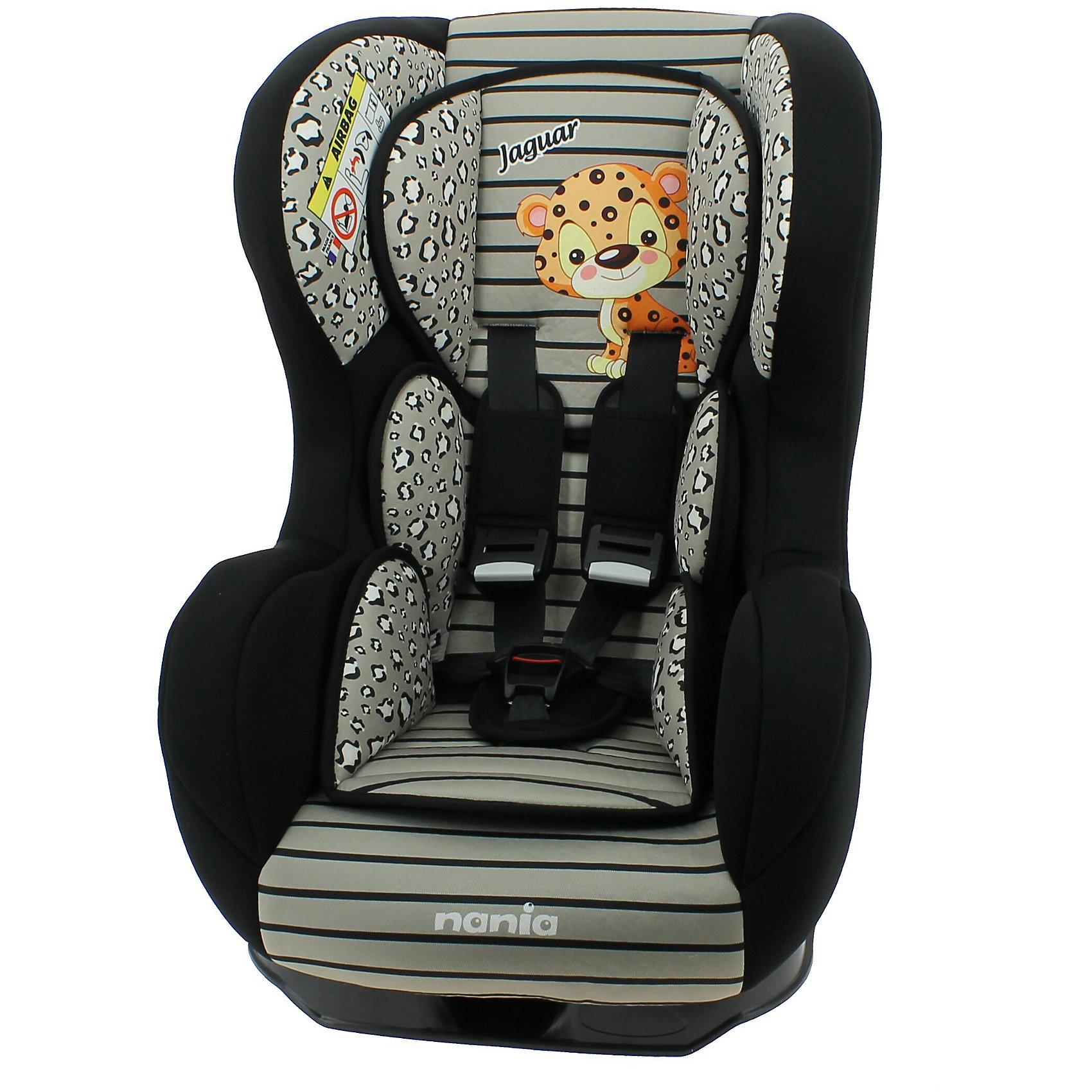 Автокресло Nania Cosmo SP 0-18 кг, jaguarГруппа 0+, 1 (До 18 кг)<br>Характеристики Nania Cosmo SP:<br><br>• группа 0+/1;<br>• вес ребенка: до 18 кг;<br>• возраст ребенка: от рождения до 4-х лет;<br>• способ установки: против хода (до 9 кг) и по ходу движения автомобиля (9-18кг);<br>• способ крепления: штатными ремнями безопасности автомобиля;<br>• 5-ти точечные ремни безопасности с мягкими накладками;<br>• угол наклона спинки регулируется: 5 положений, положение для сна;<br>• анатомический вкладыш для новорожденного, подголовник, который украшен мордочкой зверушки;<br>• дополнительная защита от боковых ударов, система SP (side protection);<br>• съемные чехлы, стирка при температуре 30 градусов;<br>• материал: пластик, полиэстер;<br>• стандарт безопасности: ЕСЕ R44/03.<br><br>Размер автокресла: 54x45x61 см<br>Вес автокресла: 6 кг<br><br>Автокресло Nania Cosmo SP устанавливается как по ходу движения, так и против хода движения автомобиля, как на заднем сиденье автомобиля, так и на переднем сиденье автомобиля (с условием отключения подушки безопасности). Регулируемая спинка дает возможность малышу занять удобное положение, как во время сна, так и во время бодрствования. Автокресло соответствует всем стандартам безопасности. <br><br>Автокресло Cosmo SP, 0-18 кг., Nania, jaguar можно купить в нашем интернет-магазине.<br><br>Ширина мм: 660<br>Глубина мм: 455<br>Высота мм: 805<br>Вес г: 14910<br>Возраст от месяцев: 0<br>Возраст до месяцев: 48<br>Пол: Унисекс<br>Возраст: Детский<br>SKU: 5287292