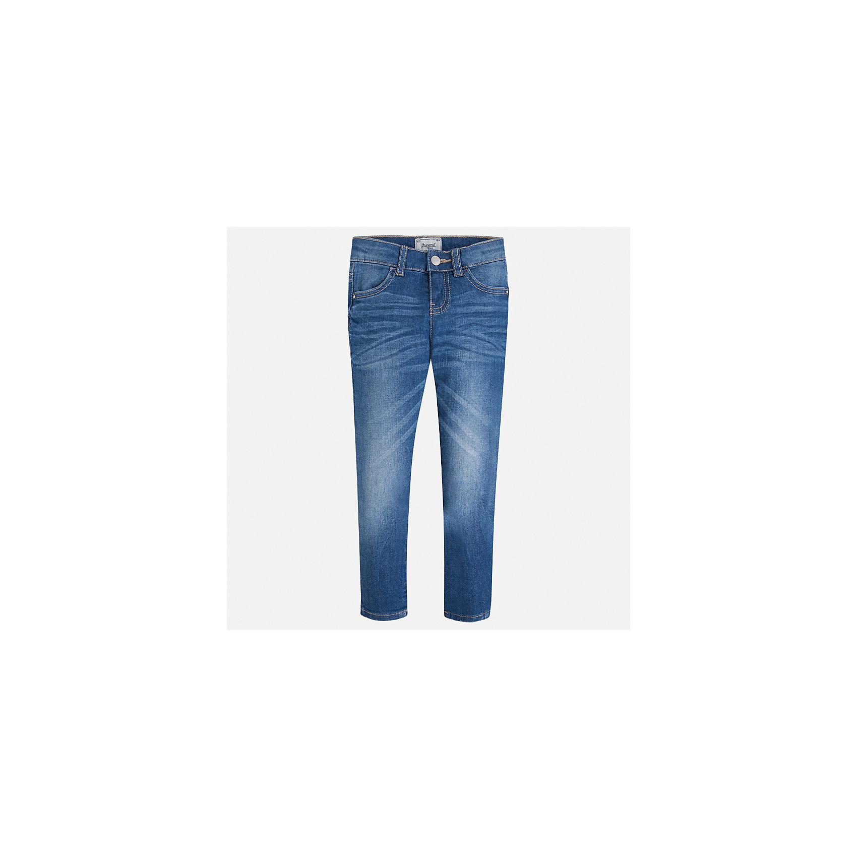 Джинсы для девочки MayoralДжинсы<br>Характеристики товара:<br><br>• цвет: синий<br>• состав: 98% хлопок, 2% эластан<br>• эффект потертости<br>• карманы<br>• пояс с регулировкой объема<br>• шлевки<br>• страна бренда: Испания<br><br>Стильные джинсы для девочки смогут разнообразить гардероб ребенка и украсить наряд. Они отлично сочетаются с майками, футболками, блузками. Красивый оттенок позволяет подобрать к вещи верх разных расцветок. Интересный крой модели делает её нарядной и оригинальной. В составе материала - натуральный хлопок, гипоаллергенный, приятный на ощупь, дышащий.<br><br>Одежда, обувь и аксессуары от испанского бренда Mayoral полюбились детям и взрослым по всему миру. Модели этой марки - стильные и удобные. Для их производства используются только безопасные, качественные материалы и фурнитура. Порадуйте ребенка модными и красивыми вещами от Mayoral! <br><br>Джинсы для девочки от испанского бренда Mayoral (Майорал) можно купить в нашем интернет-магазине.<br><br>Ширина мм: 215<br>Глубина мм: 88<br>Высота мм: 191<br>Вес г: 336<br>Цвет: синий<br>Возраст от месяцев: 18<br>Возраст до месяцев: 24<br>Пол: Женский<br>Возраст: Детский<br>Размер: 92,134,98,104,110,116,122,128<br>SKU: 5288488