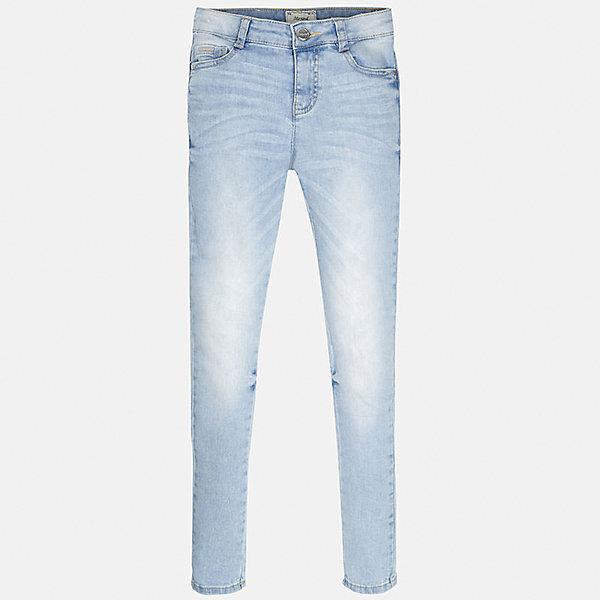 Джинсы для девочки MayoralДжинсы<br>Характеристики товара:<br><br>• цвет: голубой<br>• состав: 98% хлопок, 2% эластан<br>• эффект потертости<br>• карманы<br>• пояс с регулировкой объема<br>• шлевки<br>• страна бренда: Испания<br><br>Стильные джинсы для девочки смогут разнообразить гардероб ребенка и украсить наряд. Они отлично сочетаются с майками, футболками, блузками. Красивый оттенок позволяет подобрать к вещи верх разных расцветок. Интересный крой модели делает её нарядной и оригинальной. В составе материала - натуральный хлопок, гипоаллергенный, приятный на ощупь, дышащий.<br><br>Одежда, обувь и аксессуары от испанского бренда Mayoral полюбились детям и взрослым по всему миру. Модели этой марки - стильные и удобные. Для их производства используются только безопасные, качественные материалы и фурнитура. Порадуйте ребенка модными и красивыми вещами от Mayoral! <br><br>Джинсы для девочки от испанского бренда Mayoral (Майорал) можно купить в нашем интернет-магазине.<br><br>Ширина мм: 215<br>Глубина мм: 88<br>Высота мм: 191<br>Вес г: 336<br>Цвет: голубой<br>Возраст от месяцев: 132<br>Возраст до месяцев: 144<br>Пол: Женский<br>Возраст: Детский<br>Размер: 170,128/134,140,158,152,164<br>SKU: 5288513
