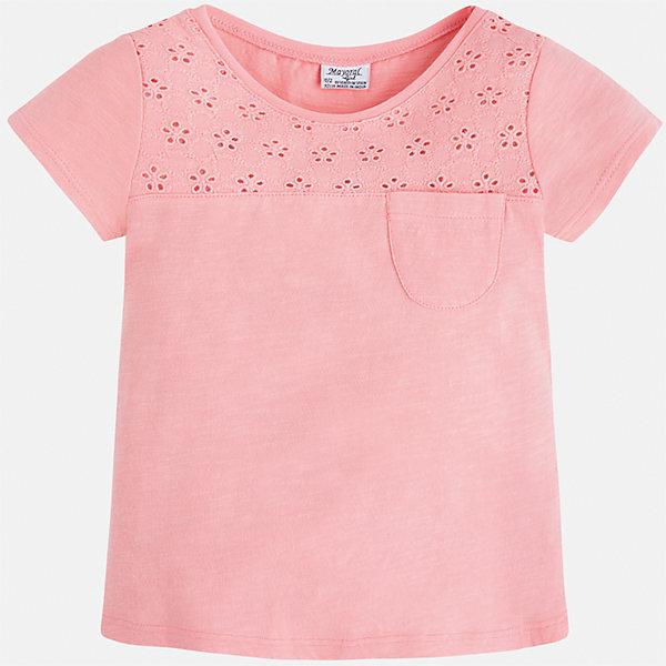 Футболка для девочки MayoralФутболки, поло и топы<br>Характеристики товара:<br><br>• цвет: розовый<br>• состав: 100% хлопок<br>• ажурный верх<br>• карман на груди<br>• короткие рукава<br>• округлый горловой вырез<br>• страна бренда: Испания<br><br>Стильная качественная футболка для девочки поможет разнообразить гардероб ребенка и украсить наряд. Она отлично сочетается и с юбками, и с шортами, и с брюками. Универсальный цвет позволяет подобрать к вещи низ практически любой расцветки. Интересная отделка модели делает её нарядной и оригинальной. В составе ткани преобладает натуральный хлопок, гипоаллергенный, приятный на ощупь, дышащий.<br><br>Одежда, обувь и аксессуары от испанского бренда Mayoral полюбились детям и взрослым по всему миру. Модели этой марки - стильные и удобные. Для их производства используются только безопасные, качественные материалы и фурнитура. Порадуйте ребенка модными и красивыми вещами от Mayoral! <br><br>Футболку для девочки от испанского бренда Mayoral (Майорал) можно купить в нашем интернет-магазине.<br>Ширина мм: 199; Глубина мм: 10; Высота мм: 161; Вес г: 151; Цвет: розовый; Возраст от месяцев: 18; Возраст до месяцев: 24; Пол: Женский; Возраст: Детский; Размер: 92,134,98,104,110,116,122,128; SKU: 5288520;