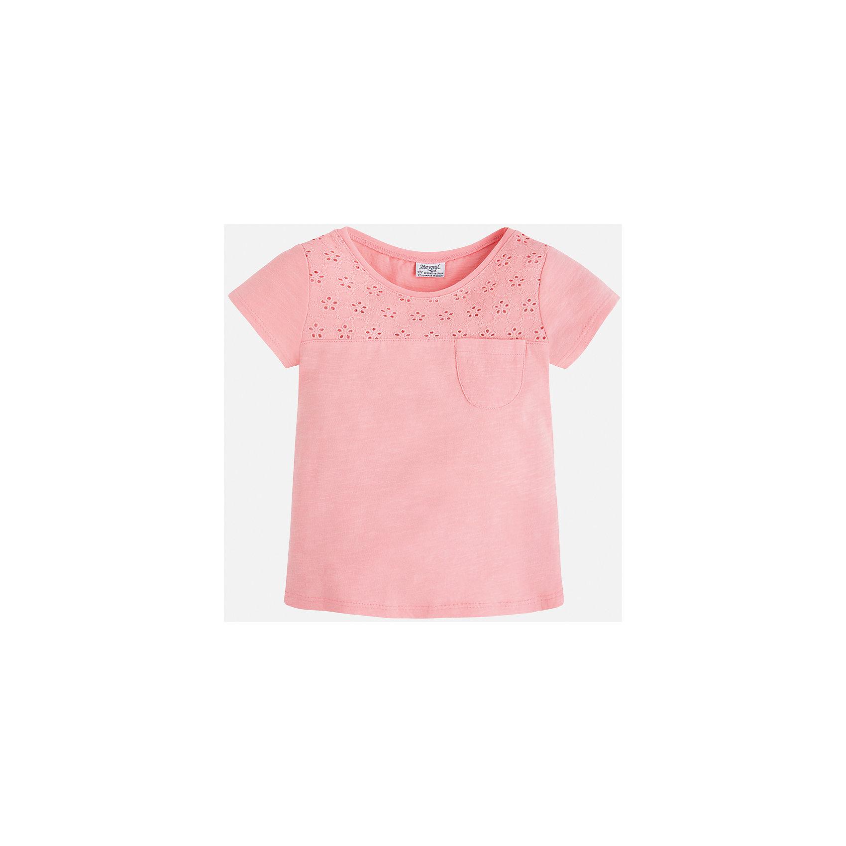 Футболка для девочки MayoralФутболки, поло и топы<br>Характеристики товара:<br><br>• цвет: розовый<br>• состав: 100% хлопок<br>• ажурный верх<br>• карман на груди<br>• короткие рукава<br>• округлый горловой вырез<br>• страна бренда: Испания<br><br>Стильная качественная футболка для девочки поможет разнообразить гардероб ребенка и украсить наряд. Она отлично сочетается и с юбками, и с шортами, и с брюками. Универсальный цвет позволяет подобрать к вещи низ практически любой расцветки. Интересная отделка модели делает её нарядной и оригинальной. В составе ткани преобладает натуральный хлопок, гипоаллергенный, приятный на ощупь, дышащий.<br><br>Одежда, обувь и аксессуары от испанского бренда Mayoral полюбились детям и взрослым по всему миру. Модели этой марки - стильные и удобные. Для их производства используются только безопасные, качественные материалы и фурнитура. Порадуйте ребенка модными и красивыми вещами от Mayoral! <br><br>Футболку для девочки от испанского бренда Mayoral (Майорал) можно купить в нашем интернет-магазине.<br><br>Ширина мм: 199<br>Глубина мм: 10<br>Высота мм: 161<br>Вес г: 151<br>Цвет: розовый<br>Возраст от месяцев: 72<br>Возраст до месяцев: 84<br>Пол: Женский<br>Возраст: Детский<br>Размер: 122,134,98,128,92,104,110,116<br>SKU: 5288520