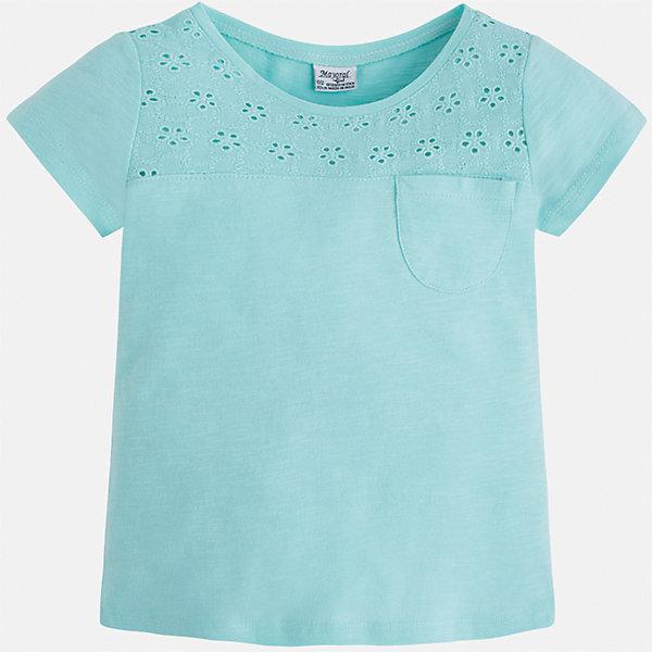 Футболка для девочки MayoralДжинсовый бум<br>Характеристики товара:<br><br>• цвет: мятный<br>• состав: 100% хлопок<br>• ажурный верх<br>• карман на груди<br>• короткие рукава<br>• округлый горловой вырез<br>• страна бренда: Испания<br><br>Стильная качественная футболка для девочки поможет разнообразить гардероб ребенка и украсить наряд. Она отлично сочетается и с юбками, и с шортами, и с брюками. Универсальный цвет позволяет подобрать к вещи низ практически любой расцветки. Интересная отделка модели делает её нарядной и оригинальной. В составе ткани преобладает натуральный хлопок, гипоаллергенный, приятный на ощупь, дышащий.<br><br>Одежда, обувь и аксессуары от испанского бренда Mayoral полюбились детям и взрослым по всему миру. Модели этой марки - стильные и удобные. Для их производства используются только безопасные, качественные материалы и фурнитура. Порадуйте ребенка модными и красивыми вещами от Mayoral! <br><br>Футболку для девочки от испанского бренда Mayoral (Майорал) можно купить в нашем интернет-магазине.<br><br>Ширина мм: 199<br>Глубина мм: 10<br>Высота мм: 161<br>Вес г: 151<br>Цвет: голубой<br>Возраст от месяцев: 18<br>Возраст до месяцев: 24<br>Пол: Женский<br>Возраст: Детский<br>Размер: 92,134,128,122,116,110,104,98<br>SKU: 5288529