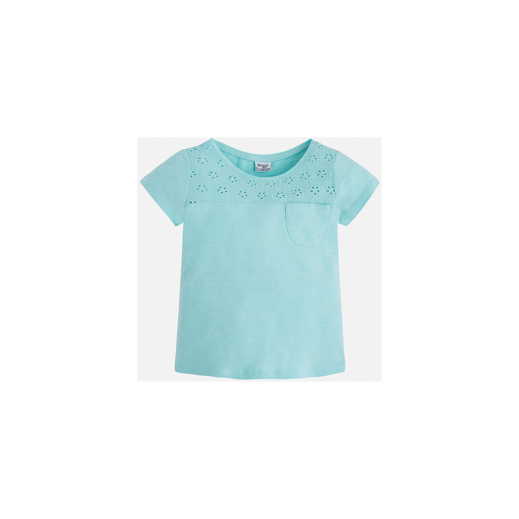 Футболка для девочки MayoralХарактеристики товара:<br><br>• цвет: мятный<br>• состав: 100% хлопок<br>• ажурный верх<br>• карман на груди<br>• короткие рукава<br>• округлый горловой вырез<br>• страна бренда: Испания<br><br>Стильная качественная футболка для девочки поможет разнообразить гардероб ребенка и украсить наряд. Она отлично сочетается и с юбками, и с шортами, и с брюками. Универсальный цвет позволяет подобрать к вещи низ практически любой расцветки. Интересная отделка модели делает её нарядной и оригинальной. В составе ткани преобладает натуральный хлопок, гипоаллергенный, приятный на ощупь, дышащий.<br><br>Одежда, обувь и аксессуары от испанского бренда Mayoral полюбились детям и взрослым по всему миру. Модели этой марки - стильные и удобные. Для их производства используются только безопасные, качественные материалы и фурнитура. Порадуйте ребенка модными и красивыми вещами от Mayoral! <br><br>Футболку для девочки от испанского бренда Mayoral (Майорал) можно купить в нашем интернет-магазине.<br><br>Ширина мм: 199<br>Глубина мм: 10<br>Высота мм: 161<br>Вес г: 151<br>Цвет: голубой<br>Возраст от месяцев: 96<br>Возраст до месяцев: 108<br>Пол: Женский<br>Возраст: Детский<br>Размер: 92,98,104,110,116,134,122,128<br>SKU: 5288529