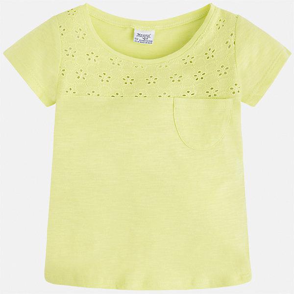 Футболка для девочки MayoralФутболки, поло и топы<br>Характеристики товара:<br><br>• цвет: желтый<br>• состав: 100% хлопок<br>• ажурный верх<br>• карман на груди<br>• короткие рукава<br>• округлый горловой вырез<br>• страна бренда: Испания<br><br>Стильная качественная футболка для девочки поможет разнообразить гардероб ребенка и украсить наряд. Она отлично сочетается и с юбками, и с шортами, и с брюками. Универсальный цвет позволяет подобрать к вещи низ практически любой расцветки. Интересная отделка модели делает её нарядной и оригинальной. В составе ткани преобладает натуральный хлопок, гипоаллергенный, приятный на ощупь, дышащий.<br><br>Одежда, обувь и аксессуары от испанского бренда Mayoral полюбились детям и взрослым по всему миру. Модели этой марки - стильные и удобные. Для их производства используются только безопасные, качественные материалы и фурнитура. Порадуйте ребенка модными и красивыми вещами от Mayoral! <br><br>Футболку для девочки от испанского бренда Mayoral (Майорал) можно купить в нашем интернет-магазине.<br><br>Ширина мм: 199<br>Глубина мм: 10<br>Высота мм: 161<br>Вес г: 151<br>Цвет: желтый<br>Возраст от месяцев: 48<br>Возраст до месяцев: 60<br>Пол: Женский<br>Возраст: Детский<br>Размер: 110,104,98,92,134,128,122,116<br>SKU: 5288538