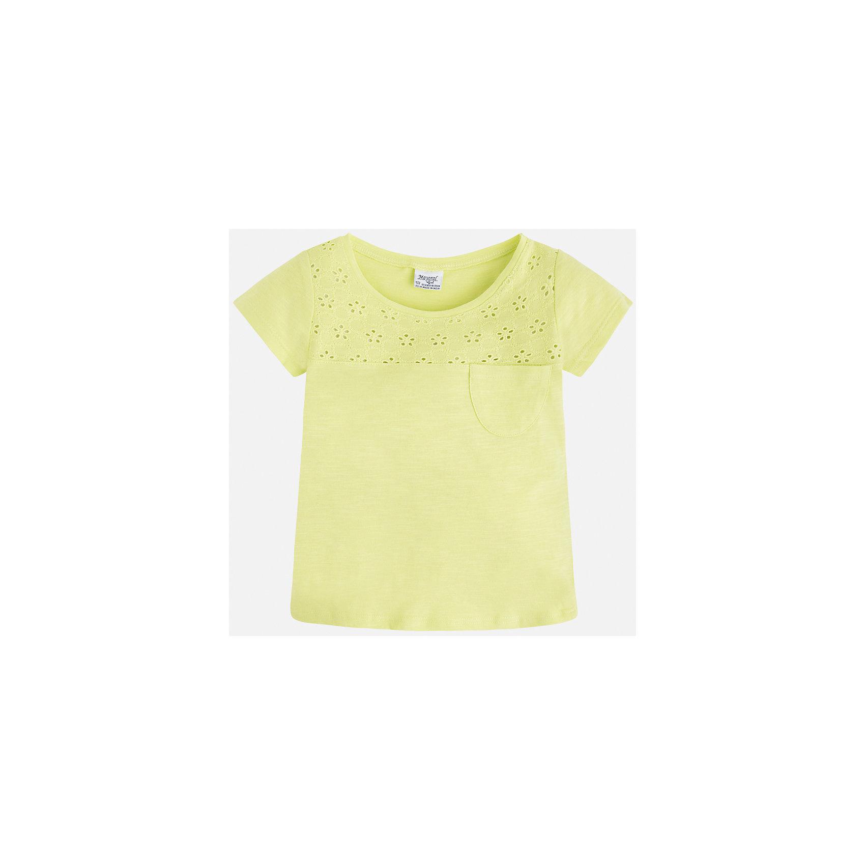 Футболка для девочки MayoralФутболки, поло и топы<br>Характеристики товара:<br><br>• цвет: желтый<br>• состав: 100% хлопок<br>• ажурный верх<br>• карман на груди<br>• короткие рукава<br>• округлый горловой вырез<br>• страна бренда: Испания<br><br>Стильная качественная футболка для девочки поможет разнообразить гардероб ребенка и украсить наряд. Она отлично сочетается и с юбками, и с шортами, и с брюками. Универсальный цвет позволяет подобрать к вещи низ практически любой расцветки. Интересная отделка модели делает её нарядной и оригинальной. В составе ткани преобладает натуральный хлопок, гипоаллергенный, приятный на ощупь, дышащий.<br><br>Одежда, обувь и аксессуары от испанского бренда Mayoral полюбились детям и взрослым по всему миру. Модели этой марки - стильные и удобные. Для их производства используются только безопасные, качественные материалы и фурнитура. Порадуйте ребенка модными и красивыми вещами от Mayoral! <br><br>Футболку для девочки от испанского бренда Mayoral (Майорал) можно купить в нашем интернет-магазине.<br><br>Ширина мм: 199<br>Глубина мм: 10<br>Высота мм: 161<br>Вес г: 151<br>Цвет: желтый<br>Возраст от месяцев: 96<br>Возраст до месяцев: 108<br>Пол: Женский<br>Возраст: Детский<br>Размер: 134,92,98,104,110,116,122,128<br>SKU: 5288538