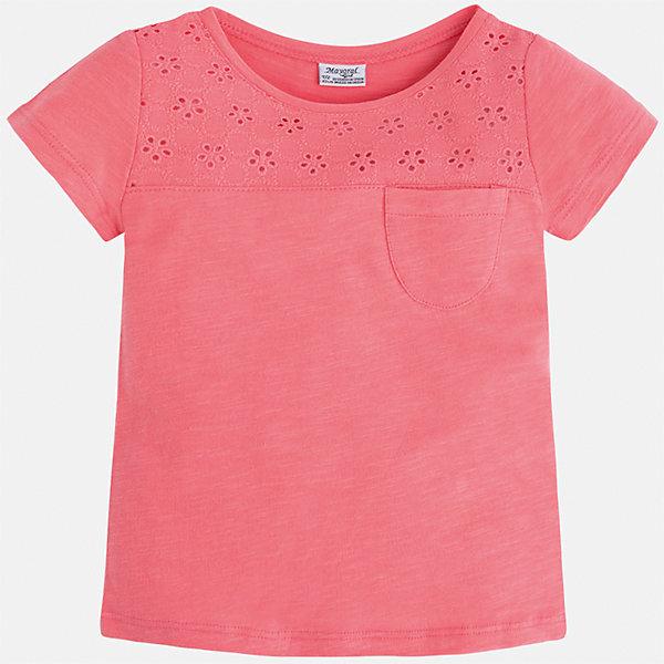 Футболка для девочки MayoralФутболки, поло и топы<br>Характеристики товара:<br><br>• цвет: розовый<br>• состав: 100% хлопок<br>• ажурный верх<br>• карман на груди<br>• короткие рукава<br>• округлый горловой вырез<br>• страна бренда: Испания<br><br>Стильная качественная футболка для девочки поможет разнообразить гардероб ребенка и украсить наряд. Она отлично сочетается и с юбками, и с шортами, и с брюками. Универсальный цвет позволяет подобрать к вещи низ практически любой расцветки. Интересная отделка модели делает её нарядной и оригинальной. В составе ткани преобладает натуральный хлопок, гипоаллергенный, приятный на ощупь, дышащий.<br><br>Одежда, обувь и аксессуары от испанского бренда Mayoral полюбились детям и взрослым по всему миру. Модели этой марки - стильные и удобные. Для их производства используются только безопасные, качественные материалы и фурнитура. Порадуйте ребенка модными и красивыми вещами от Mayoral! <br><br>Футболку для девочки от испанского бренда Mayoral (Майорал) можно купить в нашем интернет-магазине.<br>Ширина мм: 199; Глубина мм: 10; Высота мм: 161; Вес г: 151; Цвет: оранжевый; Возраст от месяцев: 18; Возраст до месяцев: 24; Пол: Женский; Возраст: Детский; Размер: 92,134,98,104,110,116,122,128; SKU: 5288547;