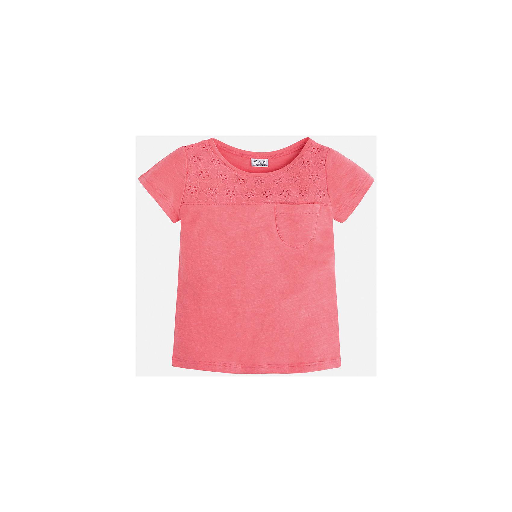Футболка для девочки MayoralХарактеристики товара:<br><br>• цвет: розовый<br>• состав: 100% хлопок<br>• ажурный верх<br>• карман на груди<br>• короткие рукава<br>• округлый горловой вырез<br>• страна бренда: Испания<br><br>Стильная качественная футболка для девочки поможет разнообразить гардероб ребенка и украсить наряд. Она отлично сочетается и с юбками, и с шортами, и с брюками. Универсальный цвет позволяет подобрать к вещи низ практически любой расцветки. Интересная отделка модели делает её нарядной и оригинальной. В составе ткани преобладает натуральный хлопок, гипоаллергенный, приятный на ощупь, дышащий.<br><br>Одежда, обувь и аксессуары от испанского бренда Mayoral полюбились детям и взрослым по всему миру. Модели этой марки - стильные и удобные. Для их производства используются только безопасные, качественные материалы и фурнитура. Порадуйте ребенка модными и красивыми вещами от Mayoral! <br><br>Футболку для девочки от испанского бренда Mayoral (Майорал) можно купить в нашем интернет-магазине.<br><br>Ширина мм: 199<br>Глубина мм: 10<br>Высота мм: 161<br>Вес г: 151<br>Цвет: оранжевый<br>Возраст от месяцев: 72<br>Возраст до месяцев: 84<br>Пол: Женский<br>Возраст: Детский<br>Размер: 122,116,110,104,98,92,134,128<br>SKU: 5288547