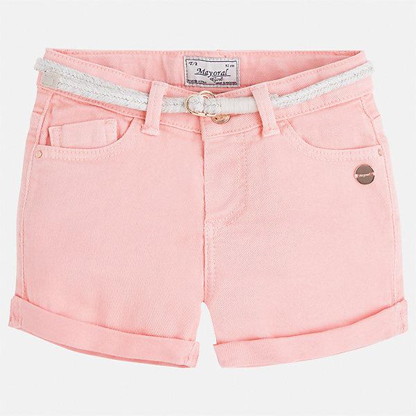 Шорты для девочки MayoralШорты, бриджи, капри<br>Характеристики товара:<br><br>• цвет: розовый<br>• состав: 98% хлопок, 2% эластан<br>• карманы<br>• шлевки<br>• пояс с регулировкой объема<br>• отвороты<br>• страна бренда: Испания<br><br>Модные легкие шорты для девочки смогут разнообразить гардероб ребенка и украсить наряд. Они отлично сочетаются с майками, футболками, блузками. Красивый оттенок позволяет подобрать к вещи верх разных расцветок. Интересный крой модели делает её нарядной и оригинальной. <br><br>Одежда, обувь и аксессуары от испанского бренда Mayoral полюбились детям и взрослым по всему миру. Модели этой марки - стильные и удобные. Для их производства используются только безопасные, качественные материалы и фурнитура. Порадуйте ребенка модными и красивыми вещами от Mayoral! <br><br>Шорты для девочки от испанского бренда Mayoral (Майорал) можно купить в нашем интернет-магазине.<br><br>Ширина мм: 191<br>Глубина мм: 10<br>Высота мм: 175<br>Вес г: 273<br>Цвет: розовый<br>Возраст от месяцев: 36<br>Возраст до месяцев: 48<br>Пол: Женский<br>Возраст: Детский<br>Размер: 104,98,134,128,122,116,110<br>SKU: 5288556