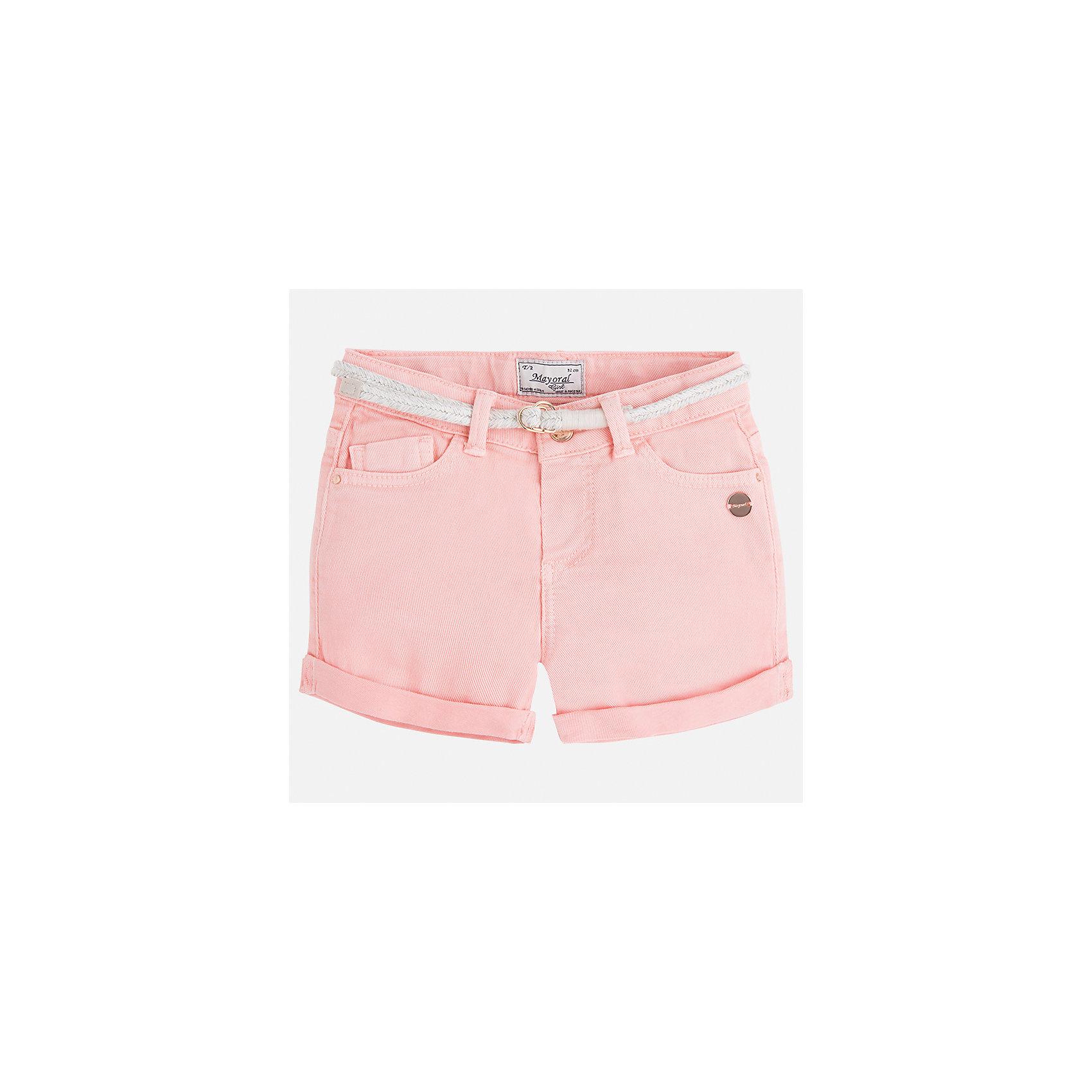Шорты для девочки MayoralШорты, бриджи, капри<br>Характеристики товара:<br><br>• цвет: розовый<br>• состав: 98% хлопок, 2% эластан<br>• карманы<br>• шлевки<br>• пояс с регулировкой объема<br>• отвороты<br>• страна бренда: Испания<br><br>Модные легкие шорты для девочки смогут разнообразить гардероб ребенка и украсить наряд. Они отлично сочетаются с майками, футболками, блузками. Красивый оттенок позволяет подобрать к вещи верх разных расцветок. Интересный крой модели делает её нарядной и оригинальной. <br><br>Одежда, обувь и аксессуары от испанского бренда Mayoral полюбились детям и взрослым по всему миру. Модели этой марки - стильные и удобные. Для их производства используются только безопасные, качественные материалы и фурнитура. Порадуйте ребенка модными и красивыми вещами от Mayoral! <br><br>Шорты для девочки от испанского бренда Mayoral (Майорал) можно купить в нашем интернет-магазине.<br><br>Ширина мм: 191<br>Глубина мм: 10<br>Высота мм: 175<br>Вес г: 273<br>Цвет: розовый<br>Возраст от месяцев: 24<br>Возраст до месяцев: 36<br>Пол: Женский<br>Возраст: Детский<br>Размер: 98,134,104,110,116,122,128<br>SKU: 5288556